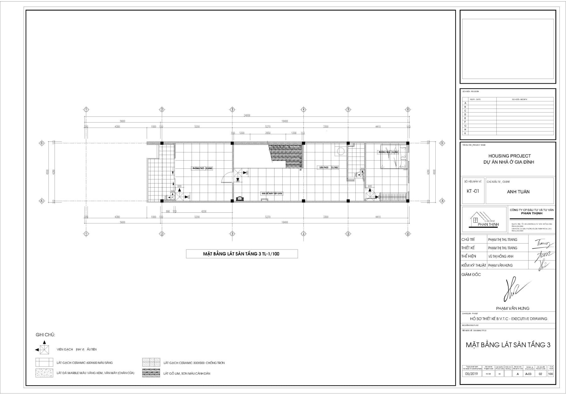 Bản vẽ thiết kế mặt bằng lát sàn tầng 3