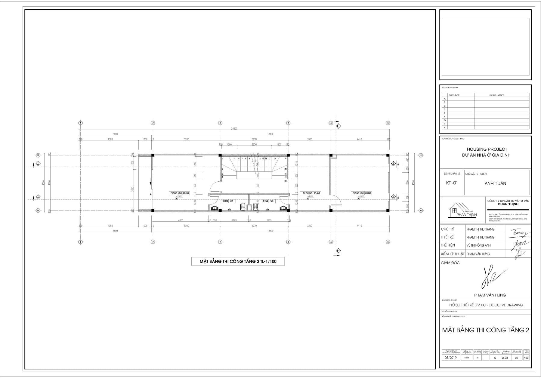 Bản vẽ thiết kế mặt bằng thi công tường xây tại tầng 2