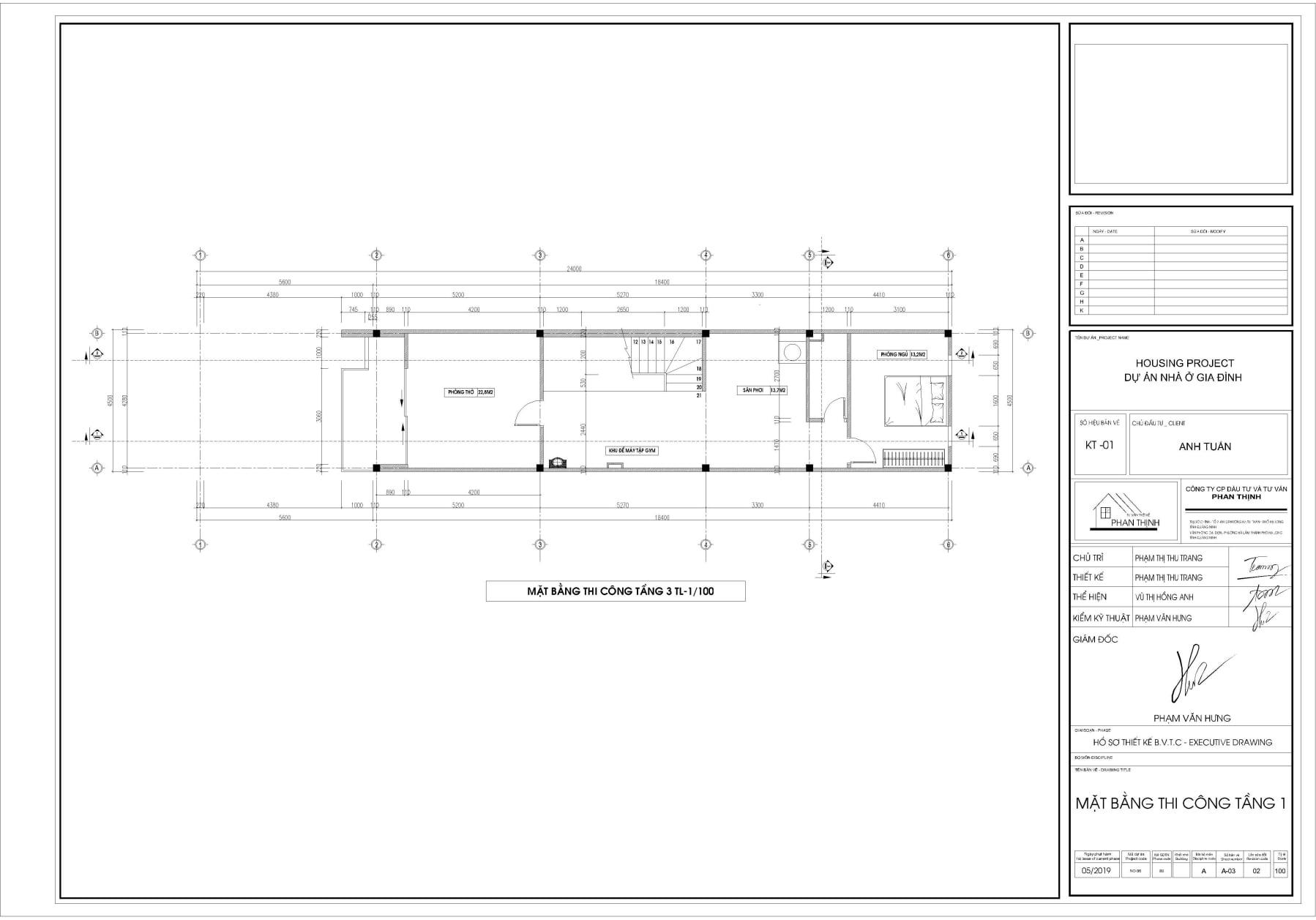 Bản vẽ thiết kế mặt bằng thi công tường xây tại tầng 3