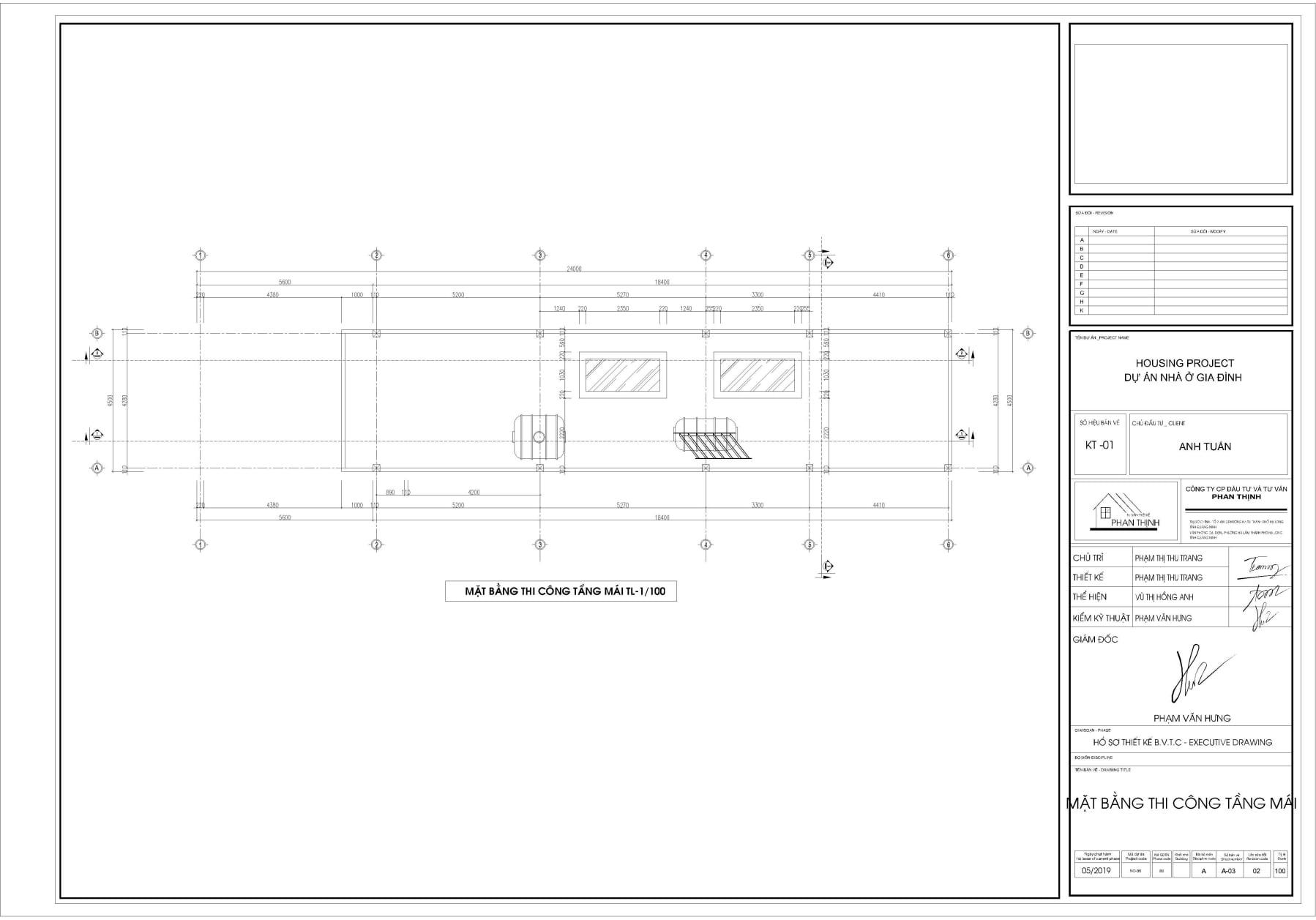 Bản vẽ thiết kế mặt bằng thi công tường xây tại tầng mái