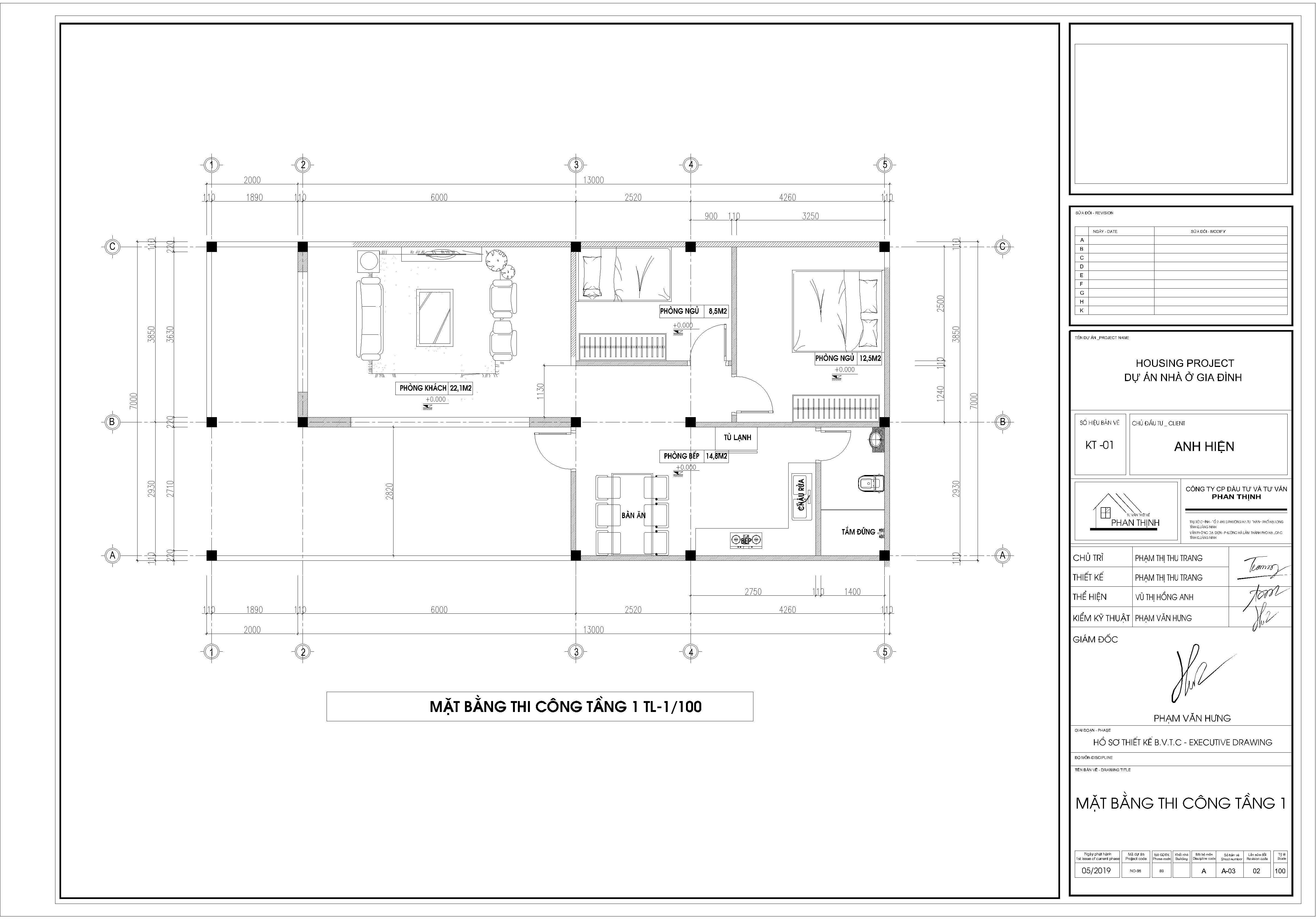 Mặt bằng thiết kế sơ bộ tại tầng 1, ngôi nhà 2 tầng trong trới