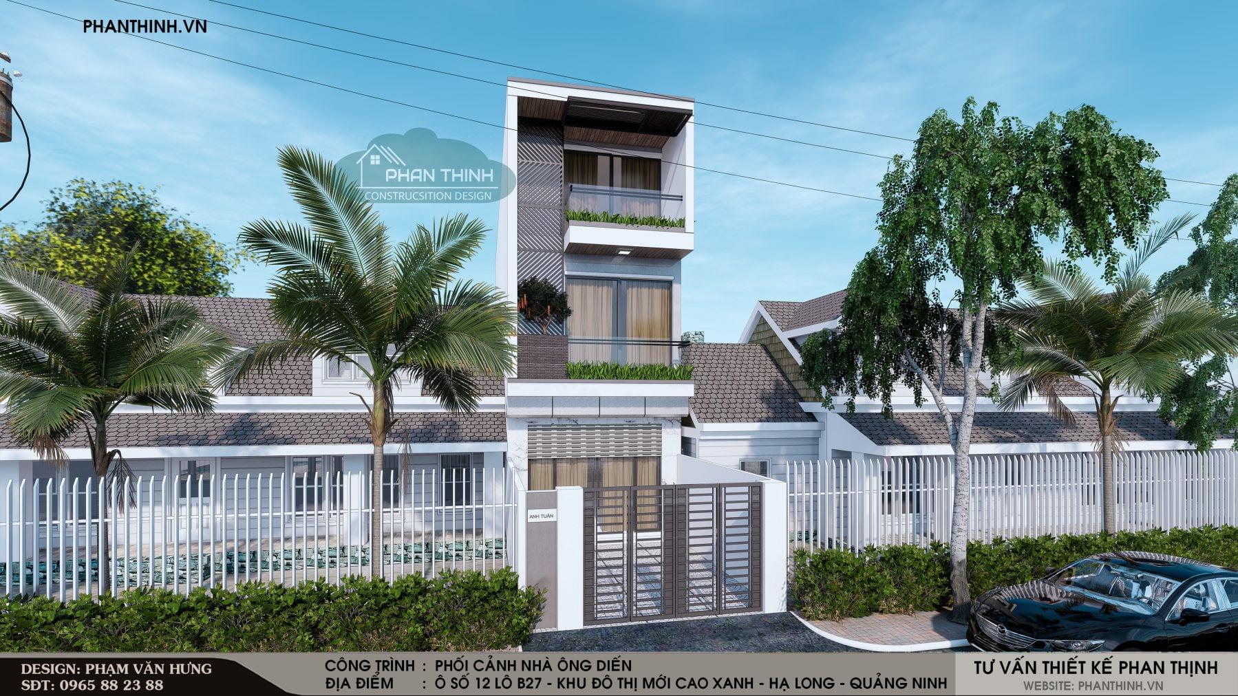 Mẫu phương án thiết kế phối cảnh số 01, căn nhà 3 tầng tại Quảng Ninh