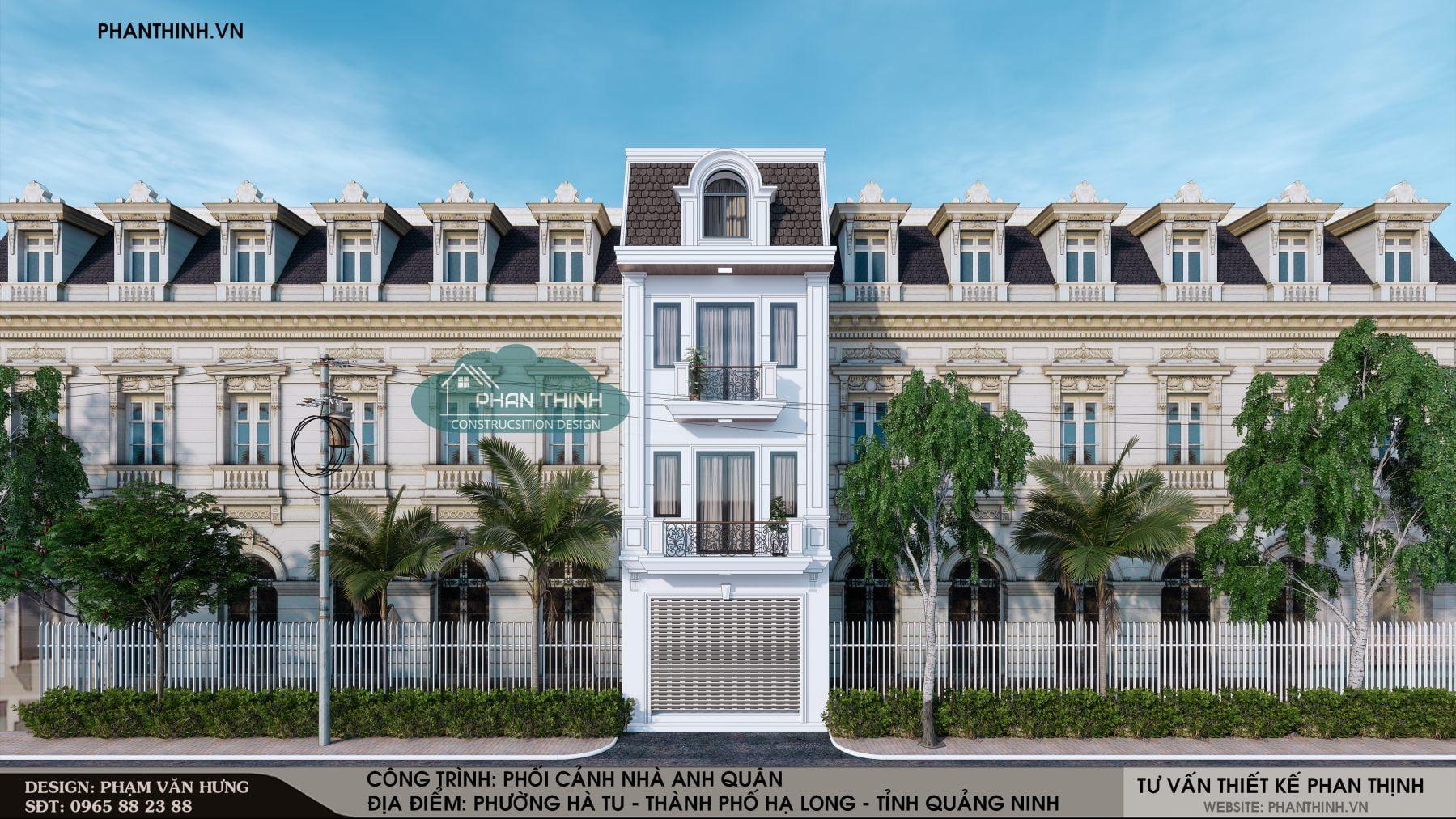 Phương án 1: Thiết kế mặt tiền nhà phố 3 tầng tân cổ điển tại Quảng Ninh