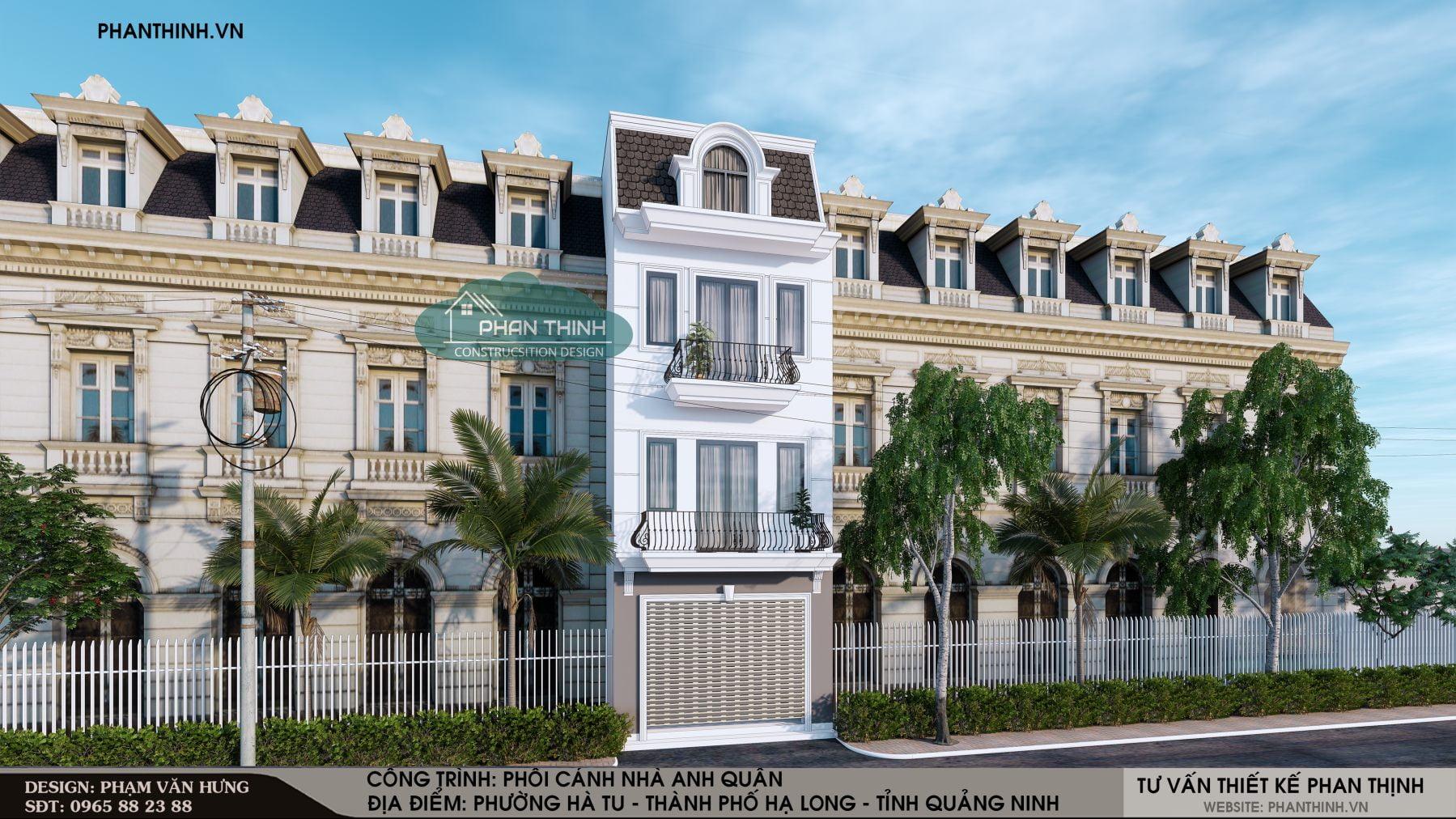Thiết kế mặt tiền ngôi nhà 3 tầng 1 tum chuẩn bị xây dựng ở Quảng Ninh