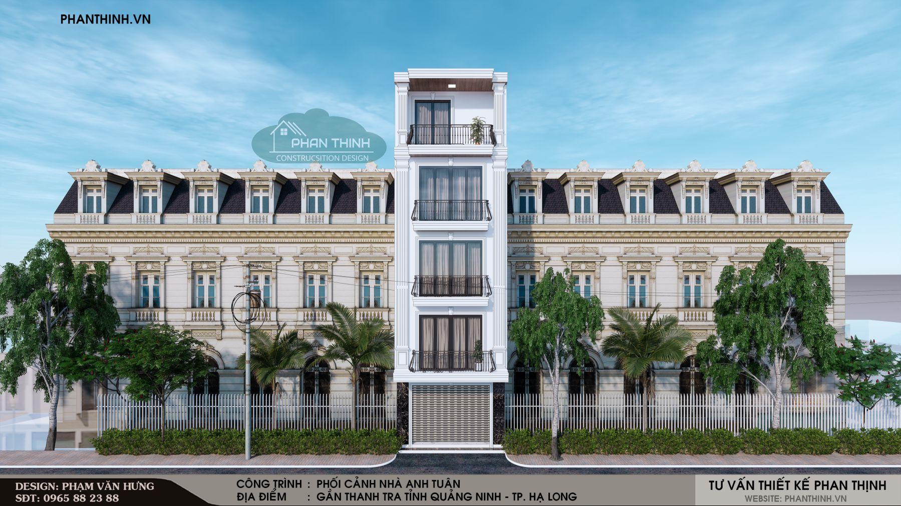Phối cảnh thiết kế mặt tiền nhà 4 tầng 1 tum tân cổ điển tại Quảng Ninh
