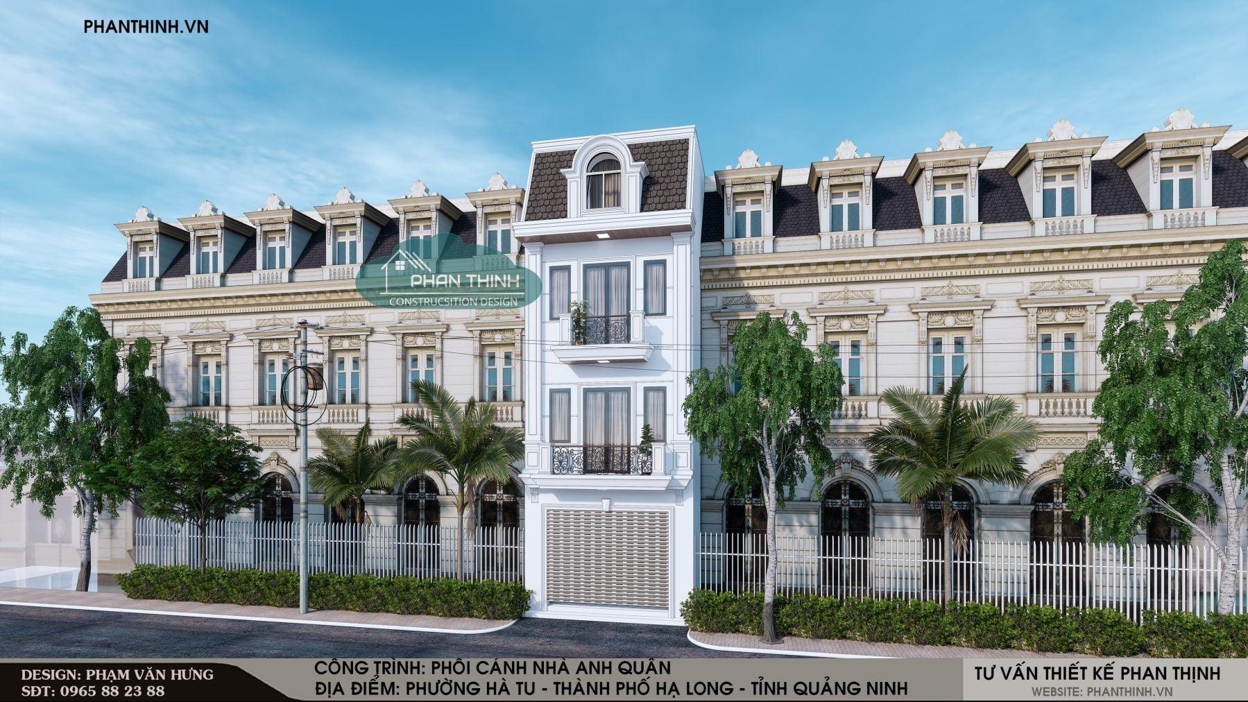 Mẫu thiết kế mặt tiền nhà 3 tầng 1 tum tân cổ điển mặt tiền 5m tại thành phố Hạ Long