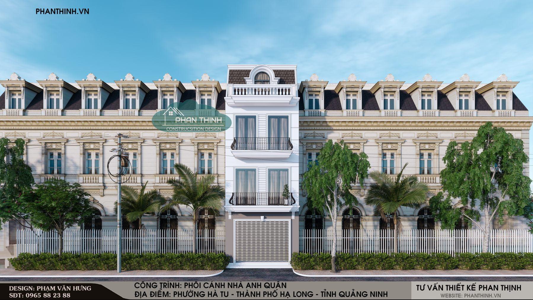 Phương án 2: Thiết kế xây dựng nhà phố 3 tầng 1 tum tân cổ điển