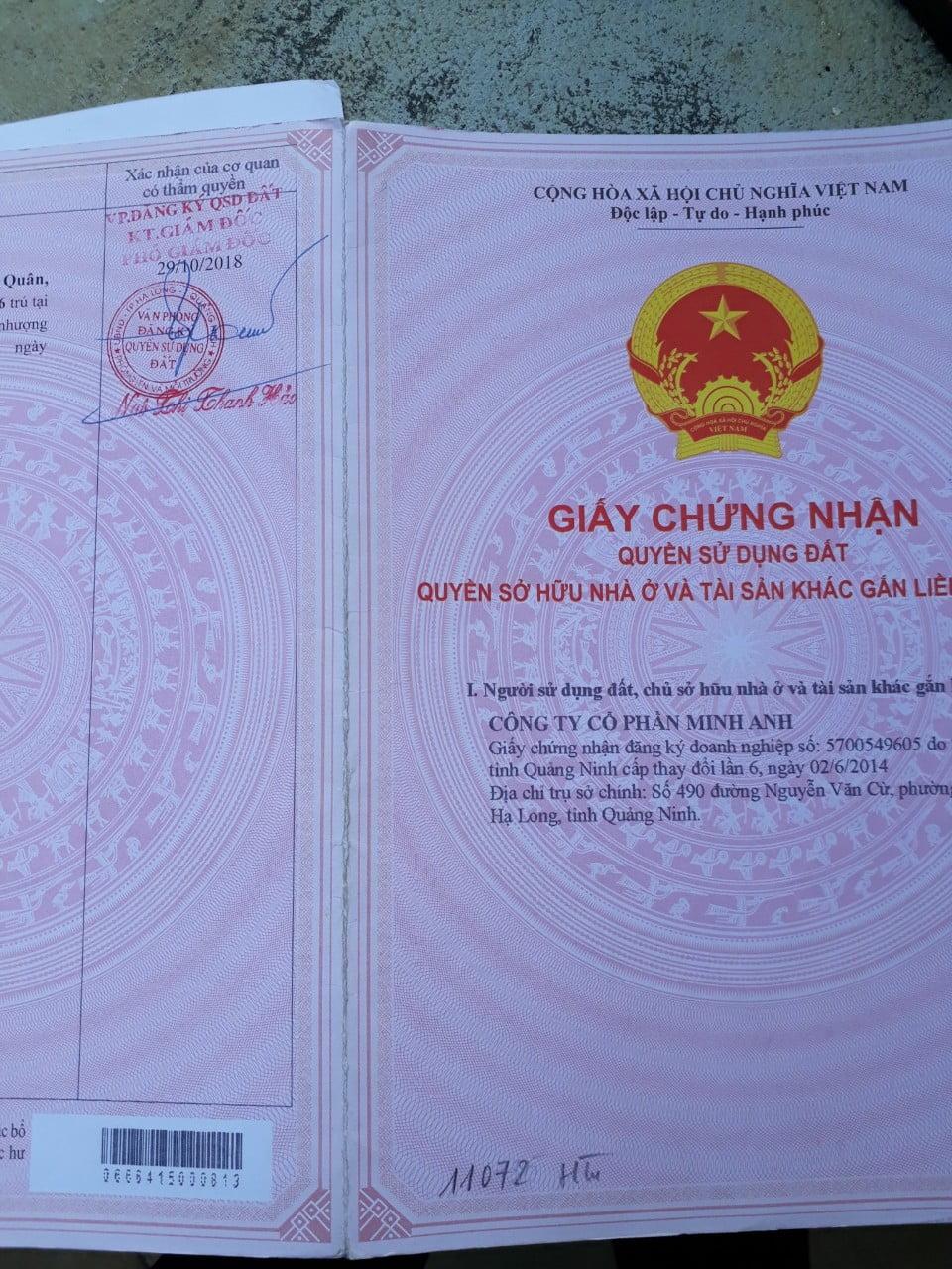 Bìa sổ đỏ khu nhà chuẩn bị xây dựng tại phường Hà Tu, thành phố Hạ Long
