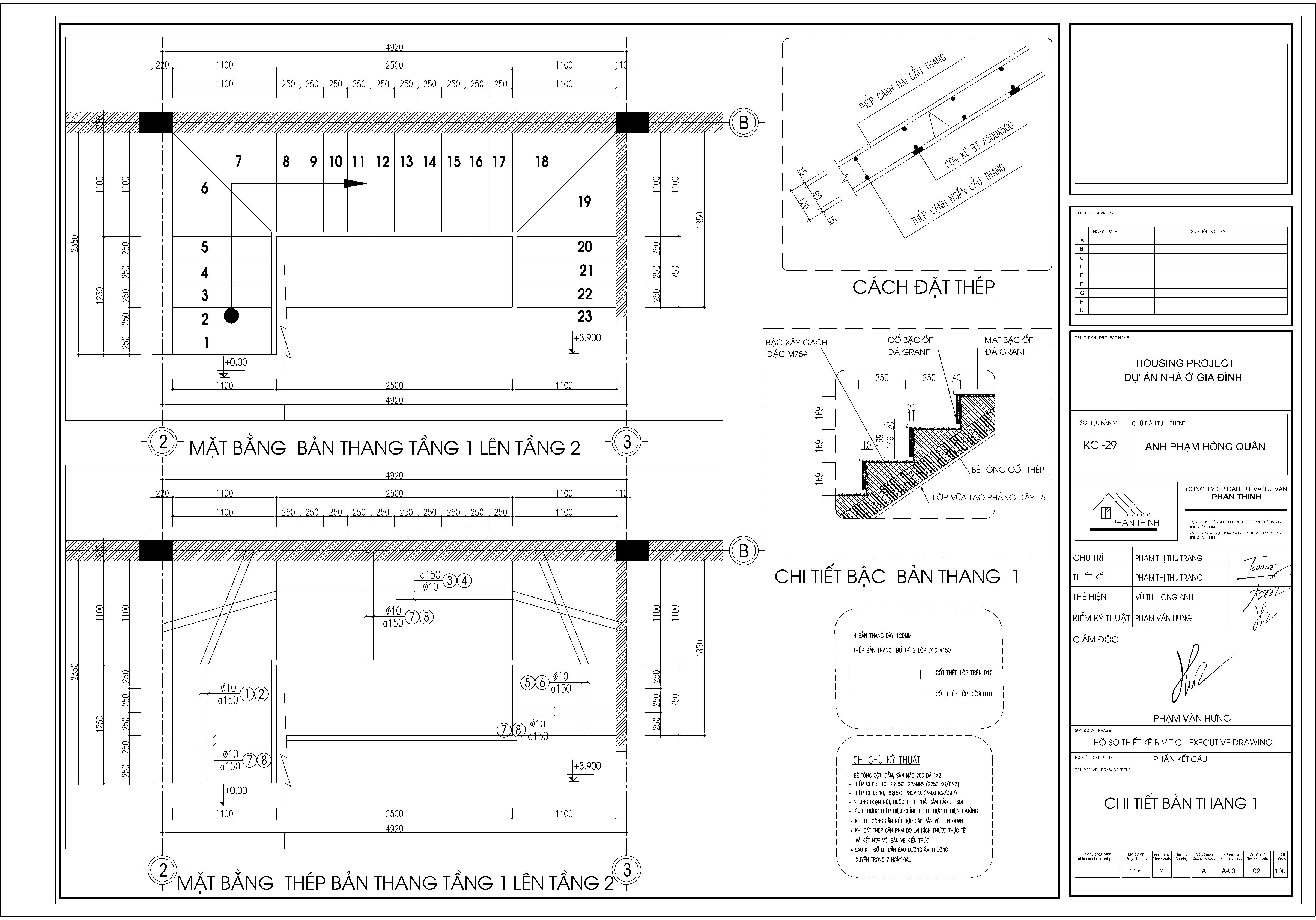 Bản vẽ kết cấu cầu thang