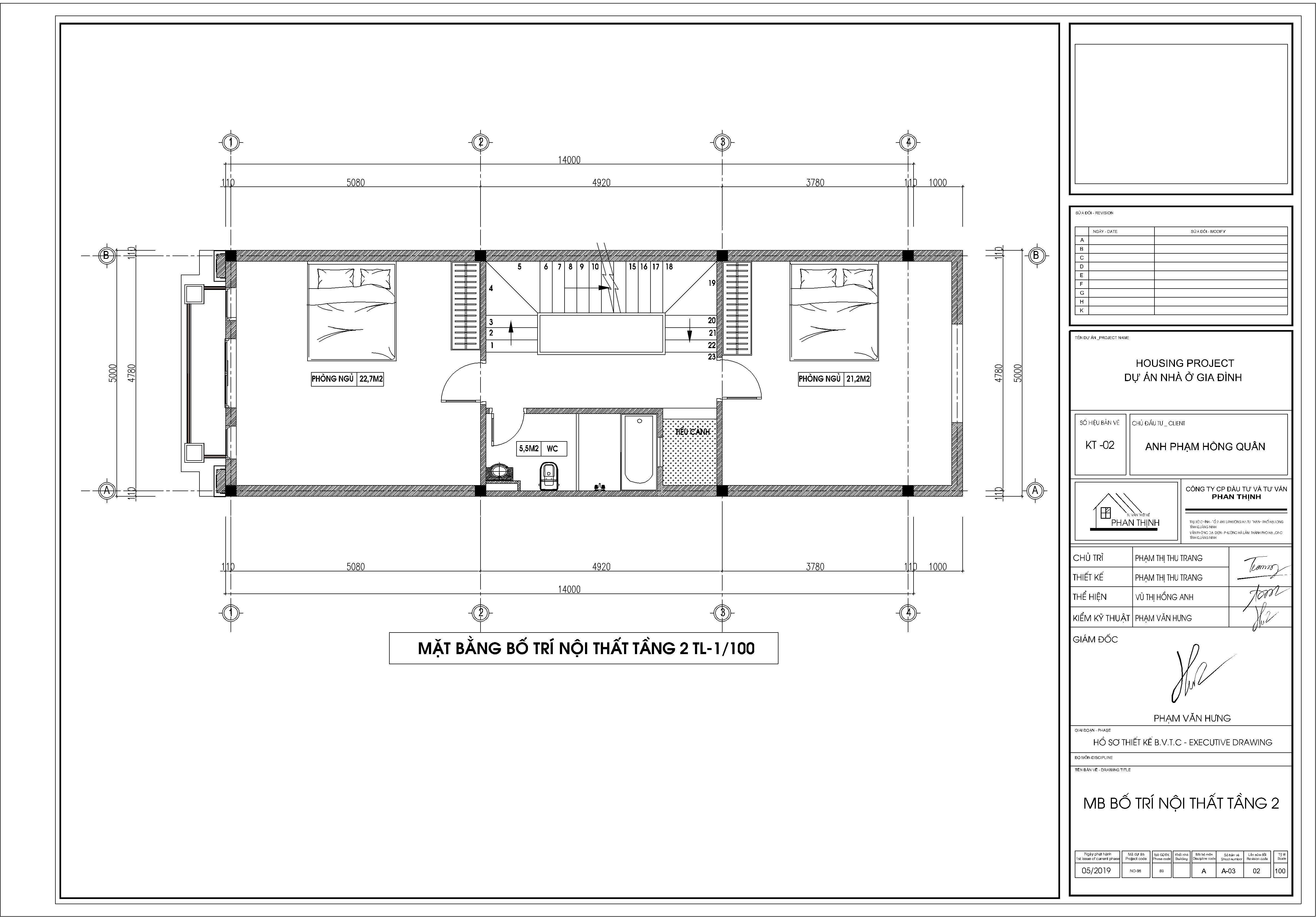 Mặt bằng thiết kế bố trí nội thất tại tầng 2