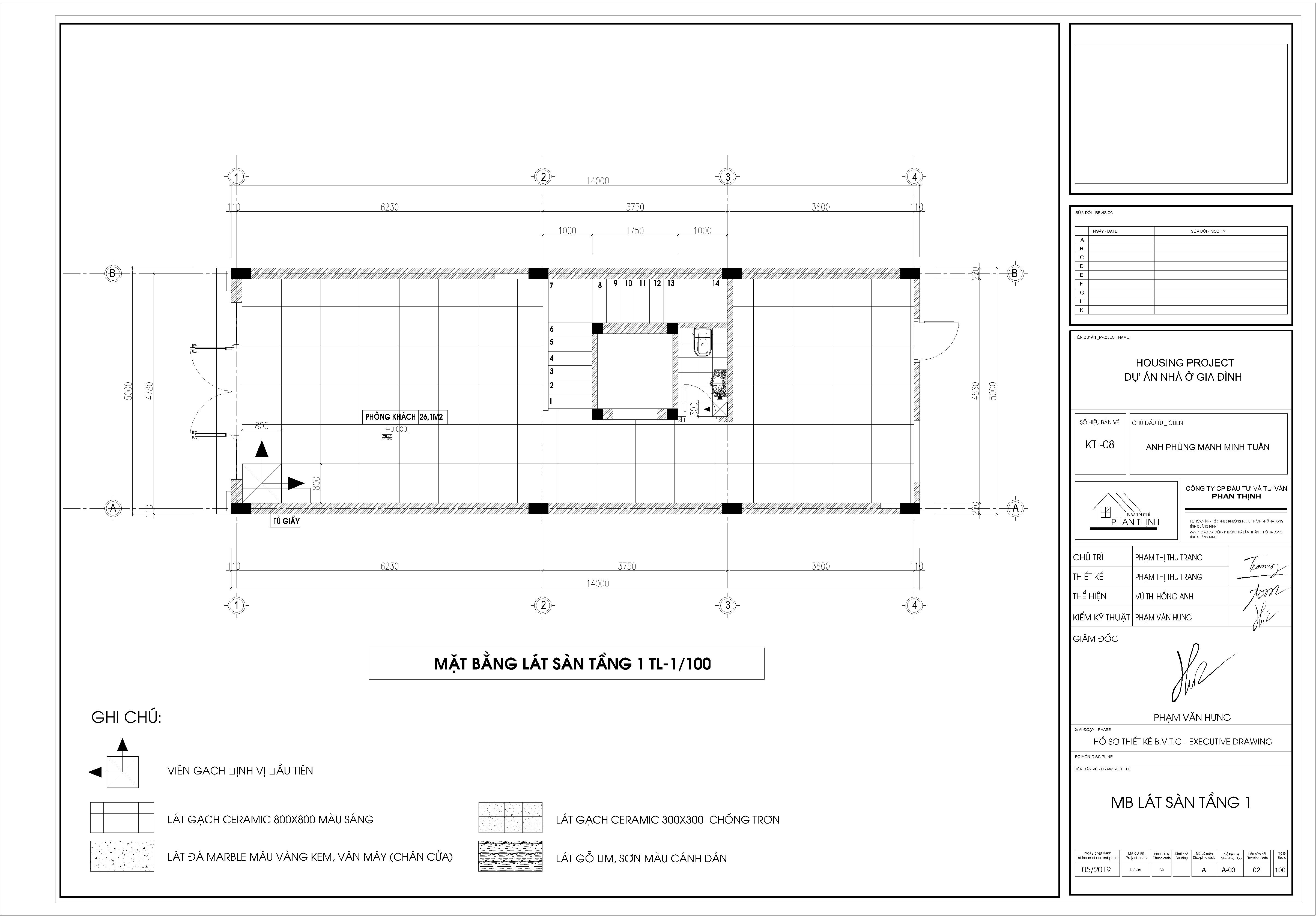 Mặt bằng thiết kế lát gạch tầng 1