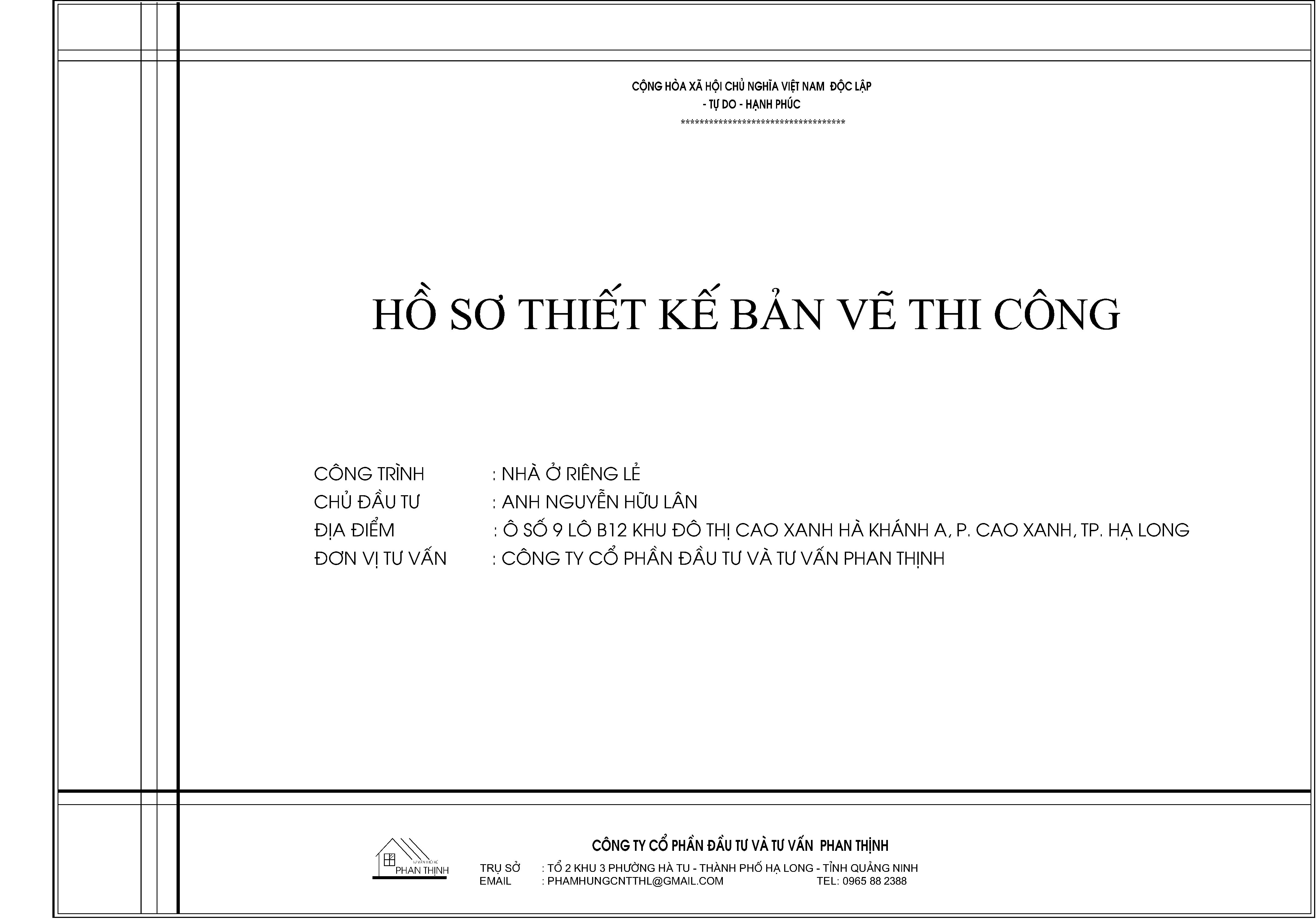 Bìa bản vẽ hồ sơ thiết kế