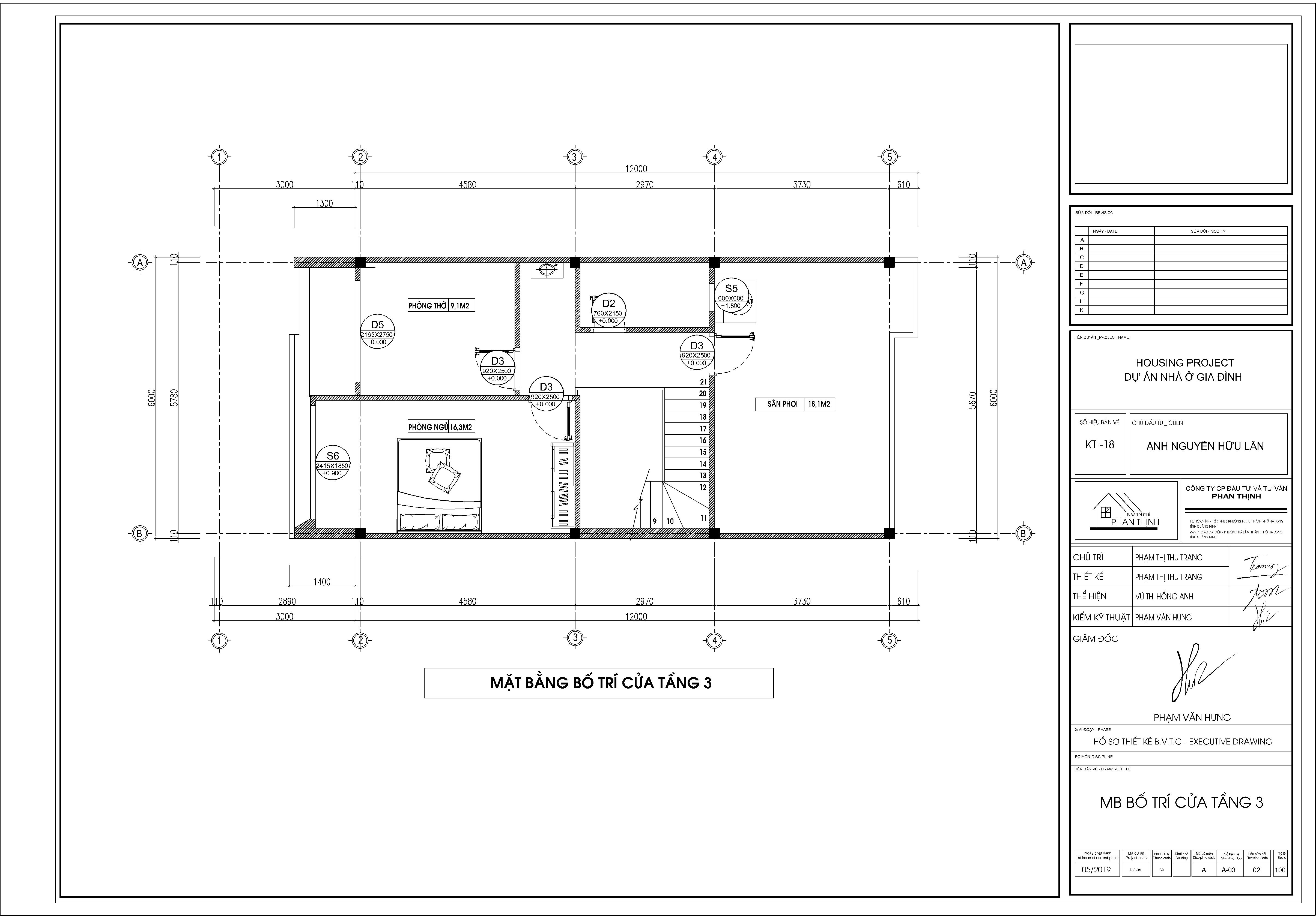 Mặt bằng thiết kế bố trí cửa tầng 3