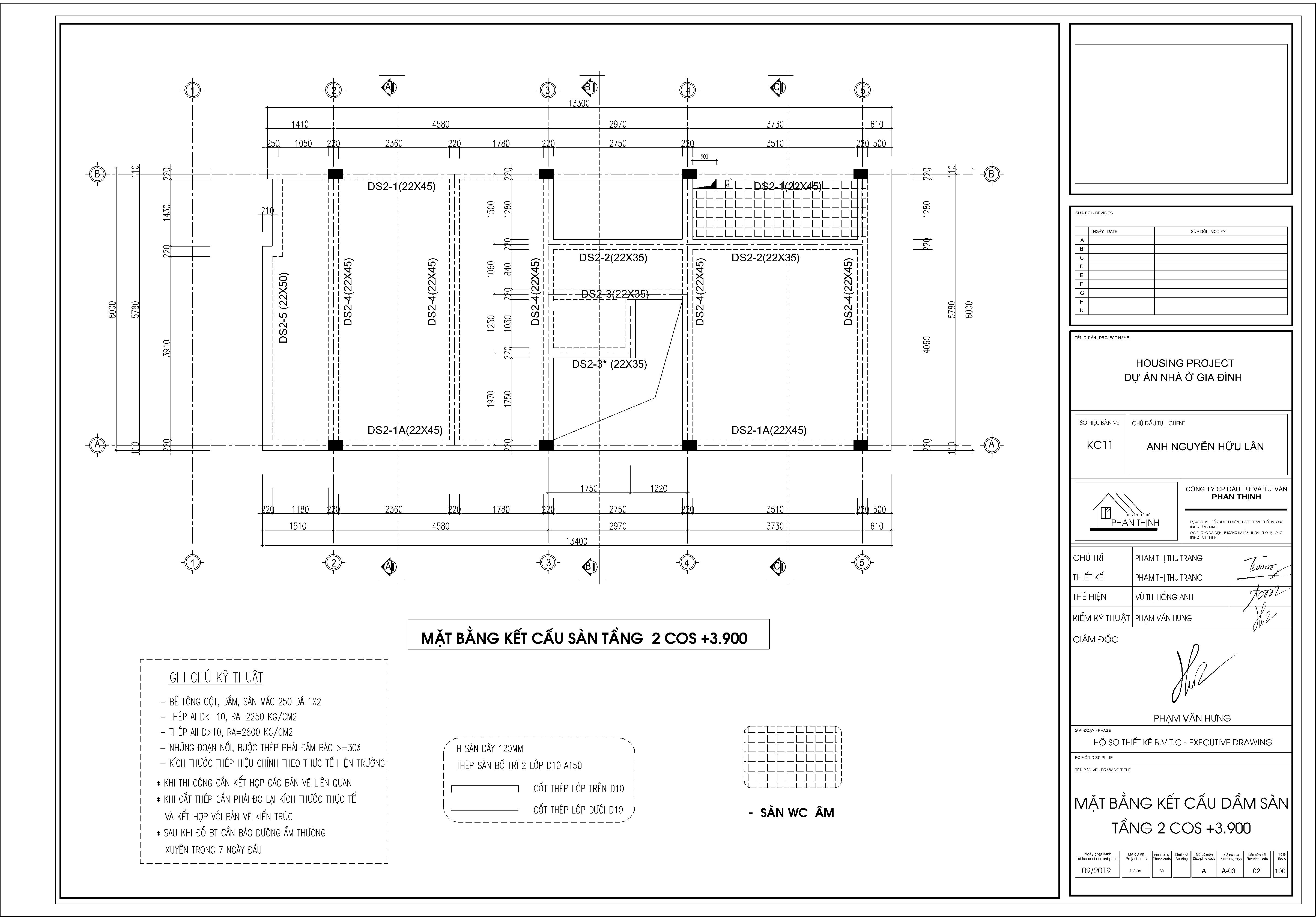 Mặt bằng thiết kế dầm sàn tầng 2