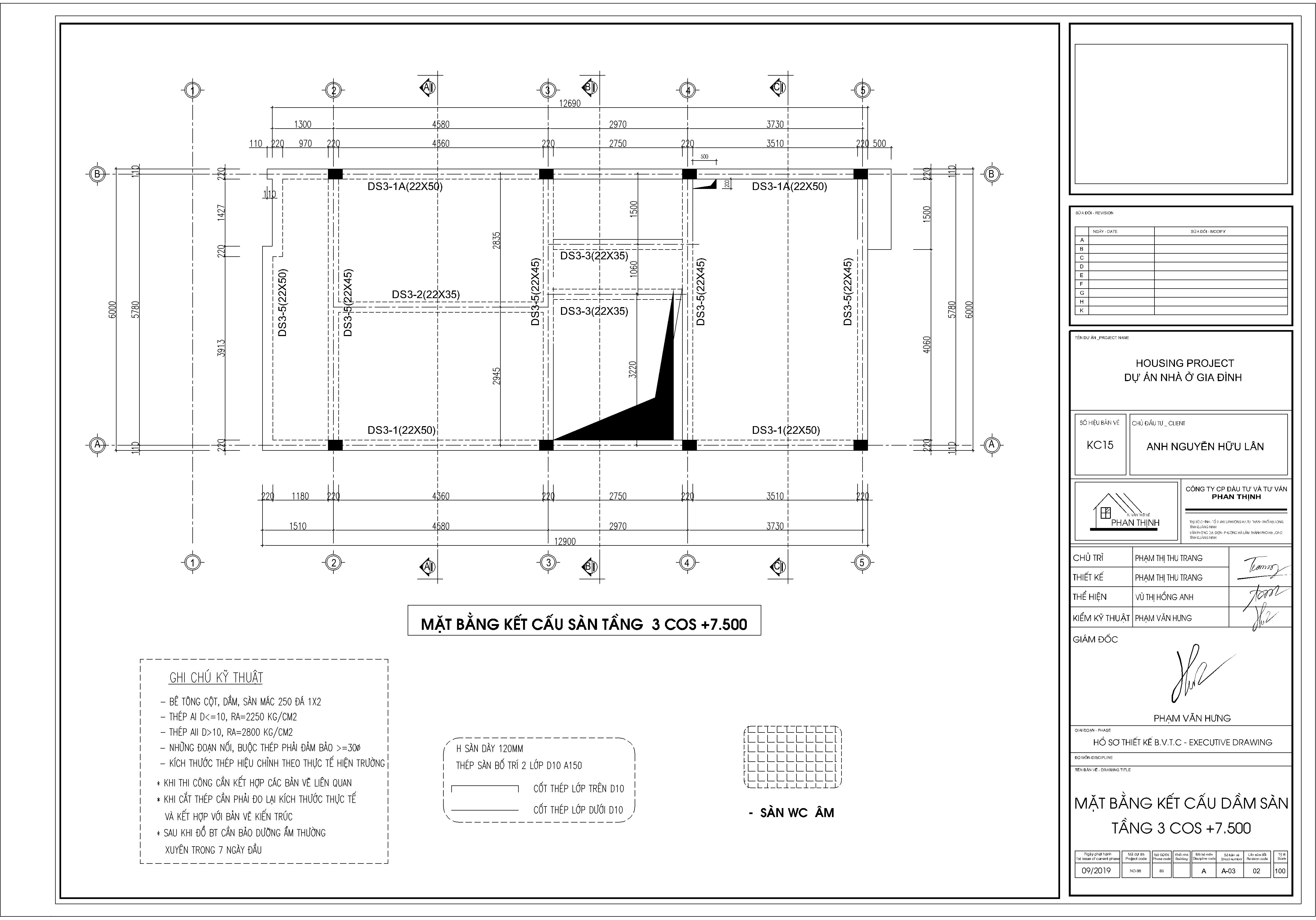 Mặt bằng kết cấu sàn tầng 3