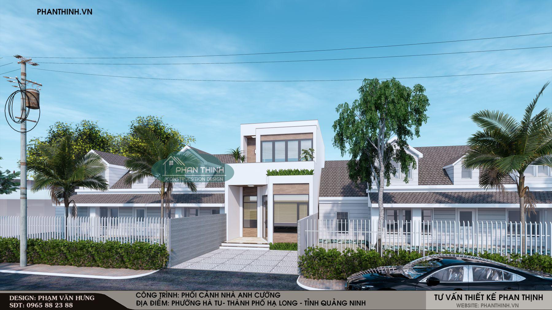 Phối cảnh thiết kế xây dựng nhà 2 tầng hiện đại ở Quảng Ninh, mẫu nhà 5,5x13m