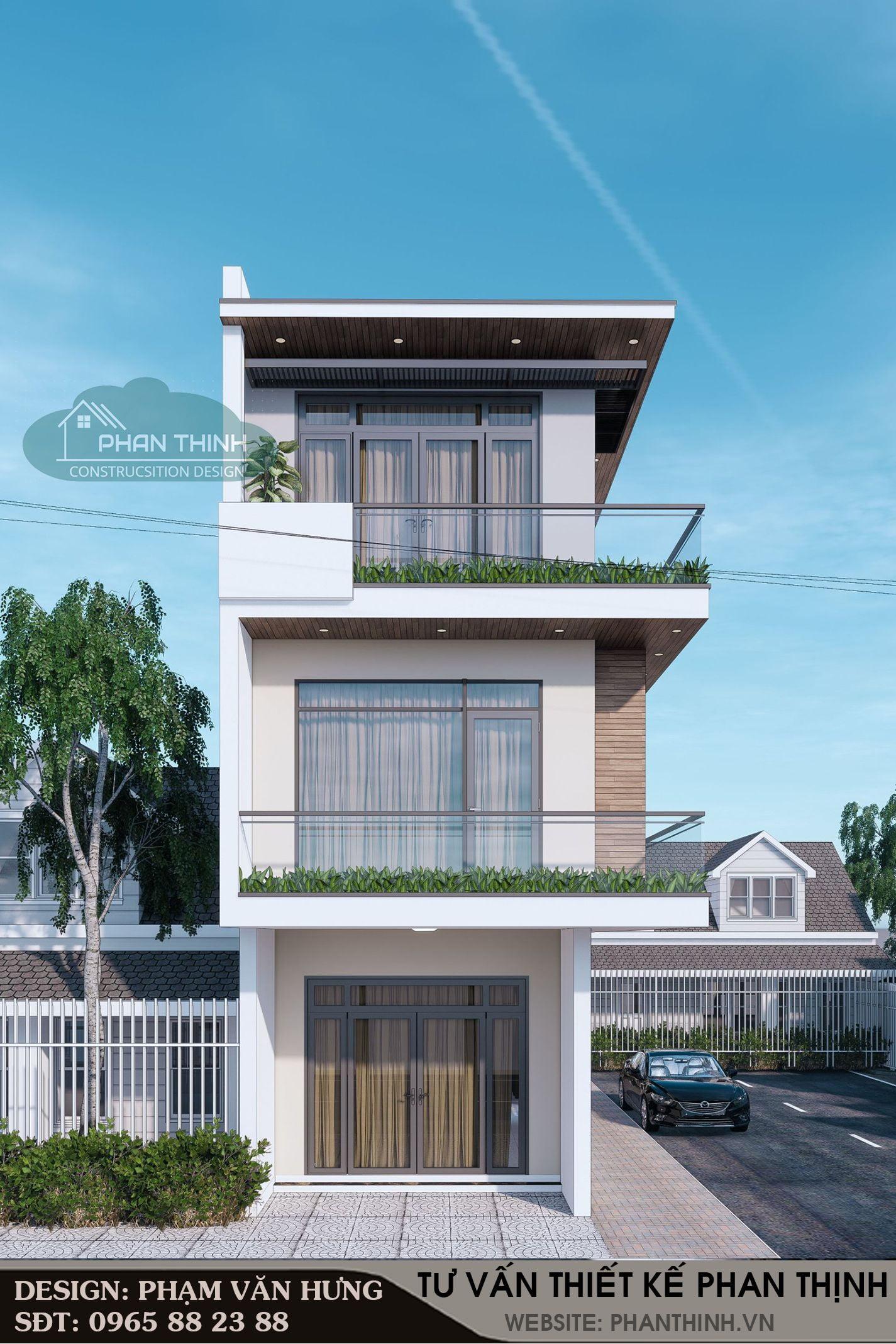 Phối cảnh thiết kế nhà 2 mặt tiền 4,5x14m đẹp tại Quảng Ninh
