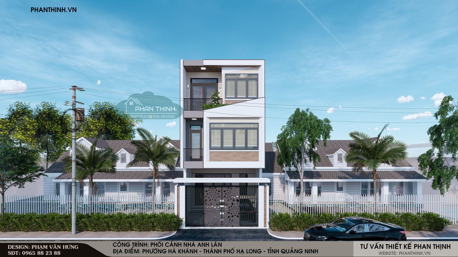 Thiết kế phối cảnh mặt tiền nhà 3 tầng hiện đại ở Quảng Ninh