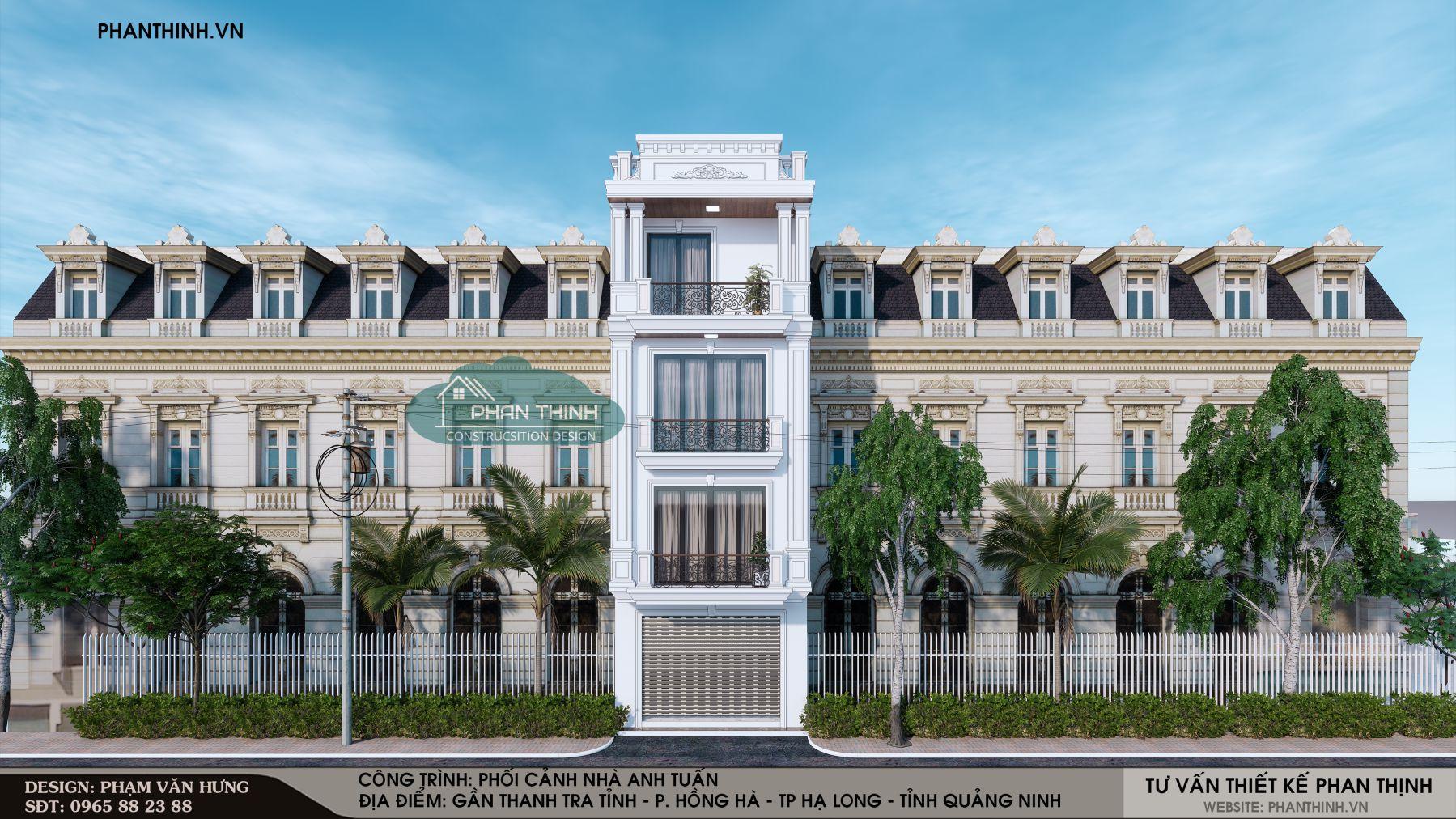 Phương án phối cảnh mặt tiền nhà 4 tầng tân cổ điển mặt tiền 5m khi có ý định xây 4 tầng