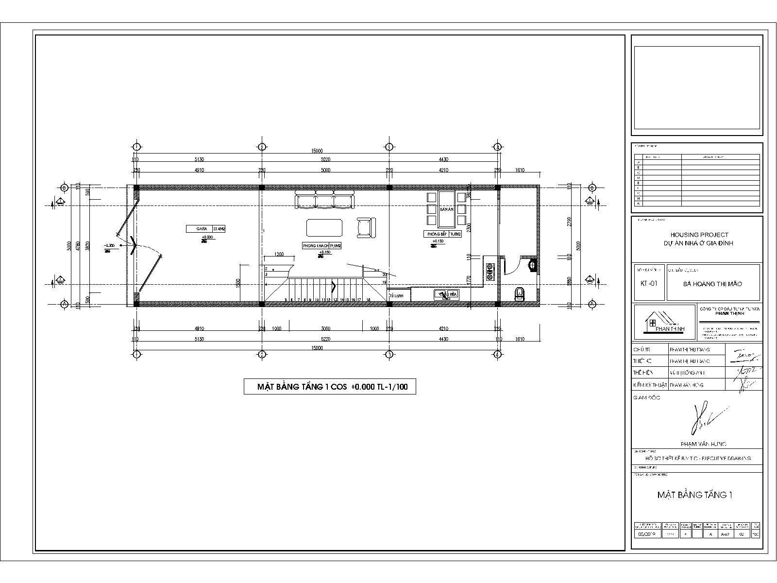 Mặt bằng thiết kế tầng 1