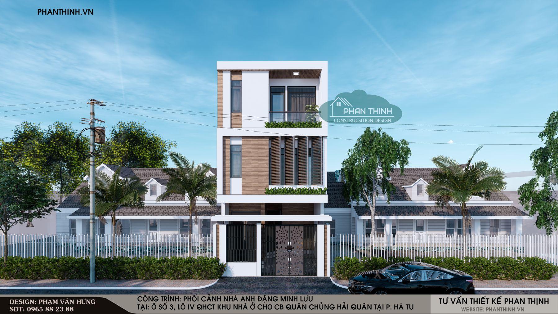 Thiết kế nhà 3 tầng mặt tiền 6m hiện đại đẹp ở Quảng Ninh