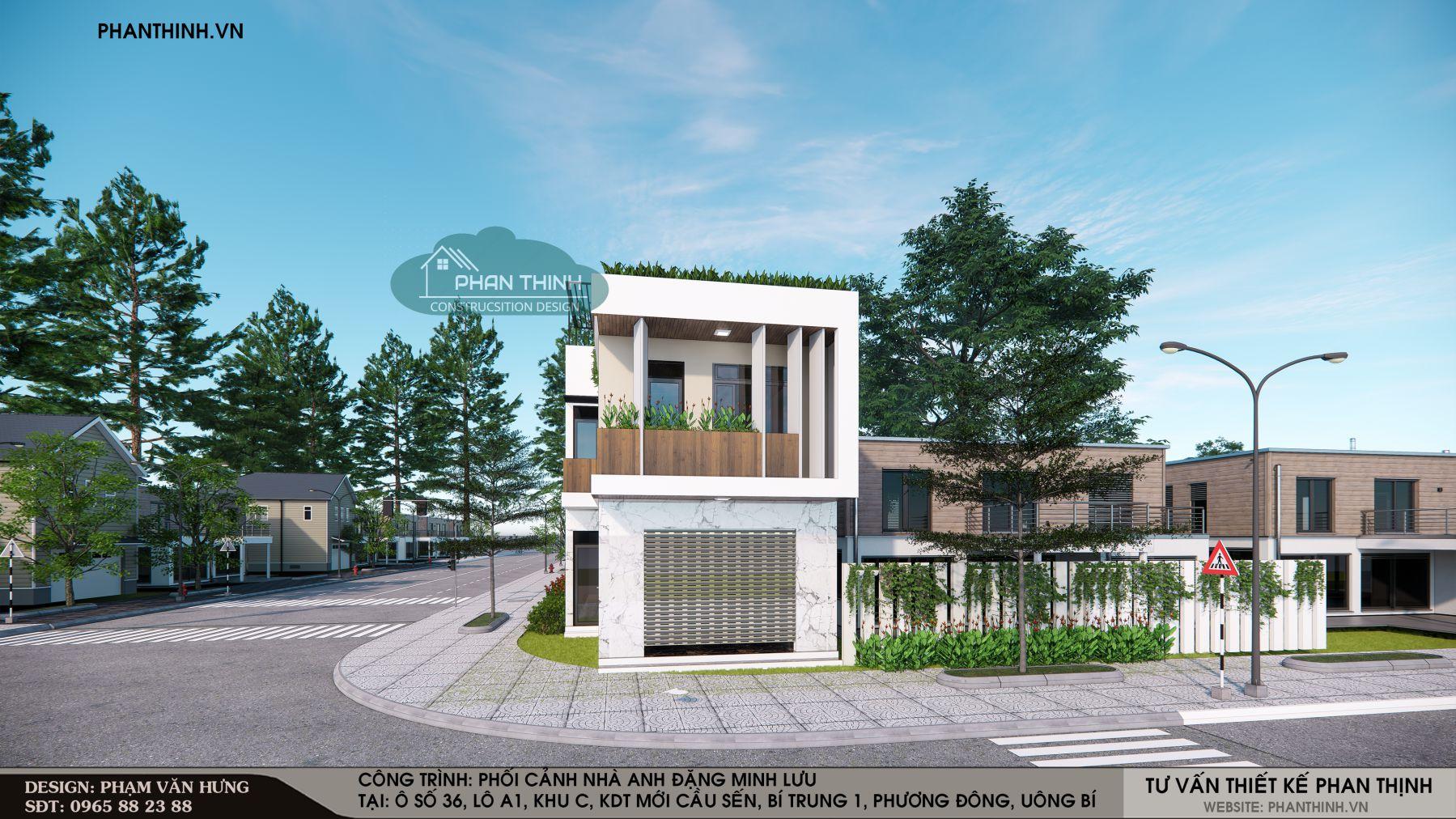 Phối cảnh thiết kế nhà 2 tầng đẹp Uông Bí