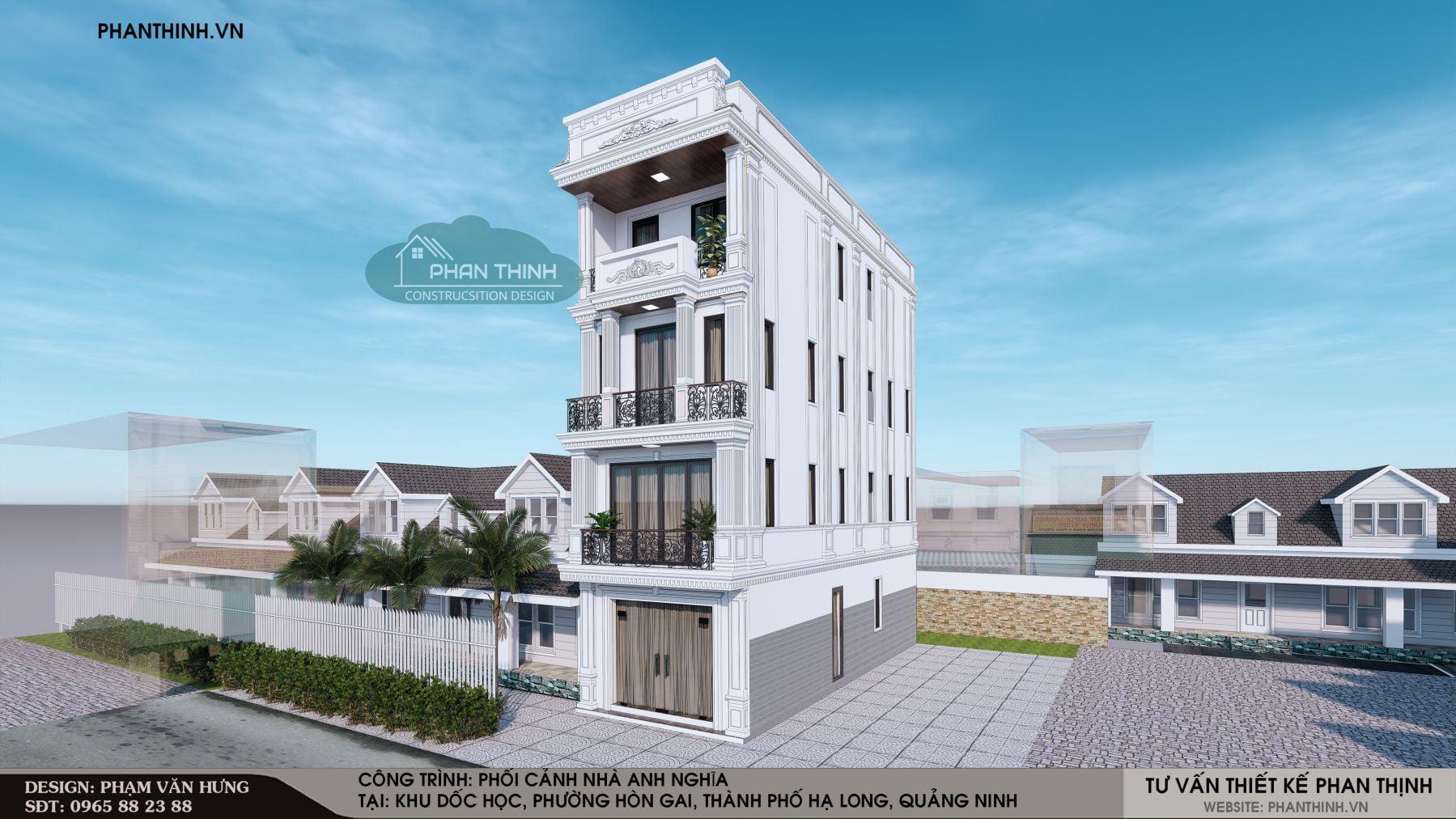 Phối cảnh thiết kế căn nhà phố 4 tầng mặt tiền 5m tân cổ điển