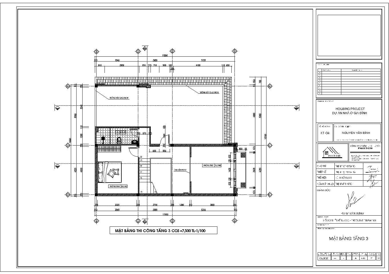 Mặt bằng thiết kế tại tầng 3