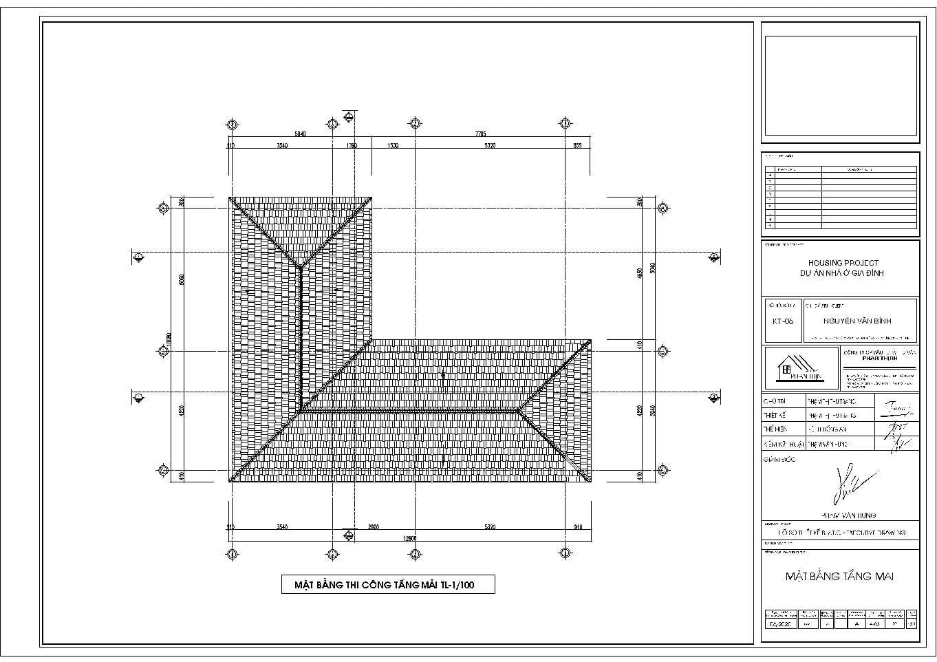 Mặt bằng thiết kế tầng mái