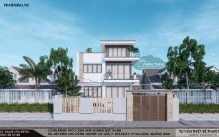Thiết kế nhà biệt thự 3 tầng hiện đại mặt tiền 9m tại khu Cái Lân, Bãi Cháy