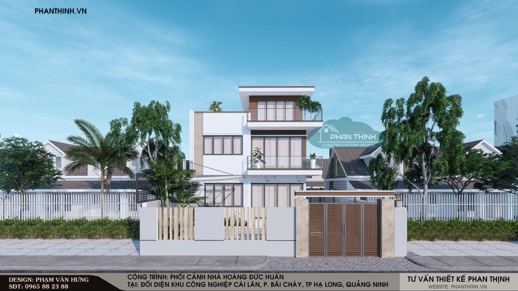 Phối cảnh thiết kế mặt tiền căn nhà 3 tầng mặt tiền 9m tại Quảng Ninh