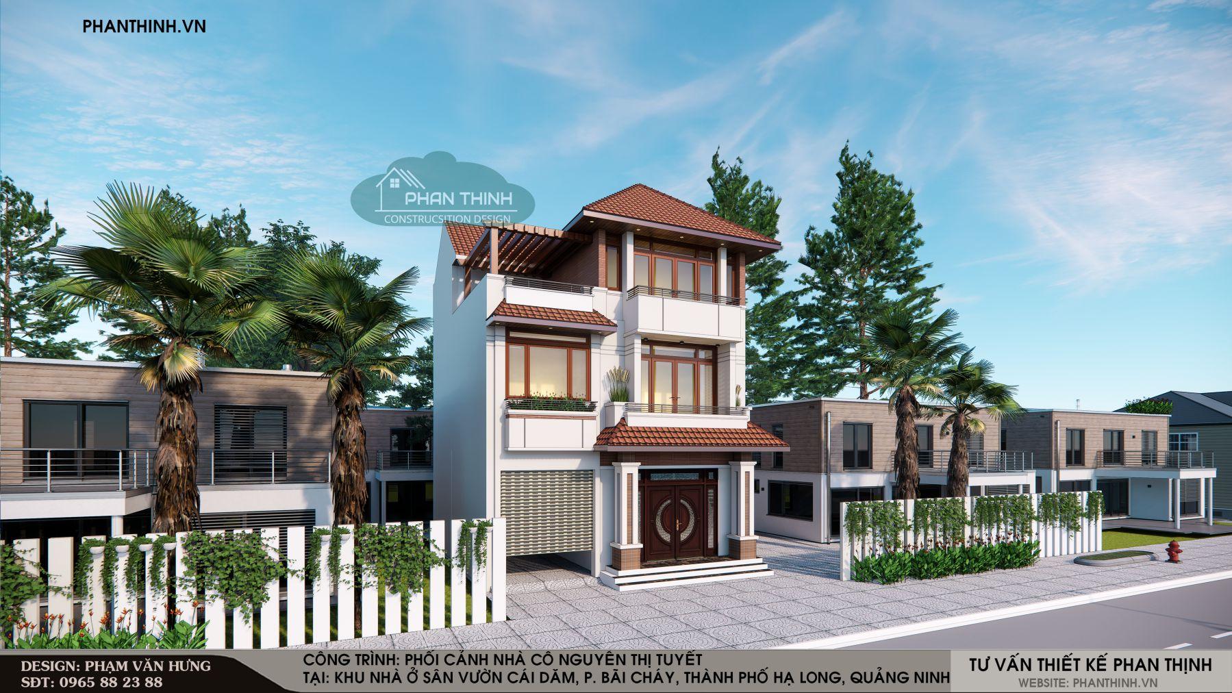 Phương án thiết kế nhà mái thái phong cách hiện đại, 3 tầng, mặt tiền 10m