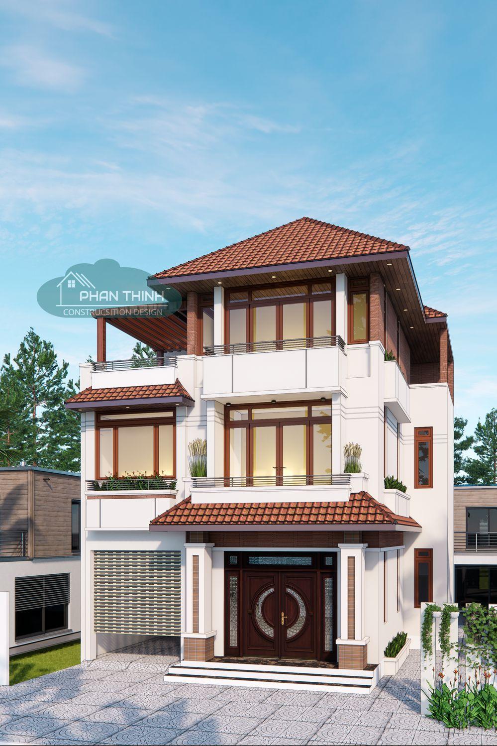 Phương án phối cảnh nhà 3 tầng biệt thự mái thái đẹp ở Quảng Ninh