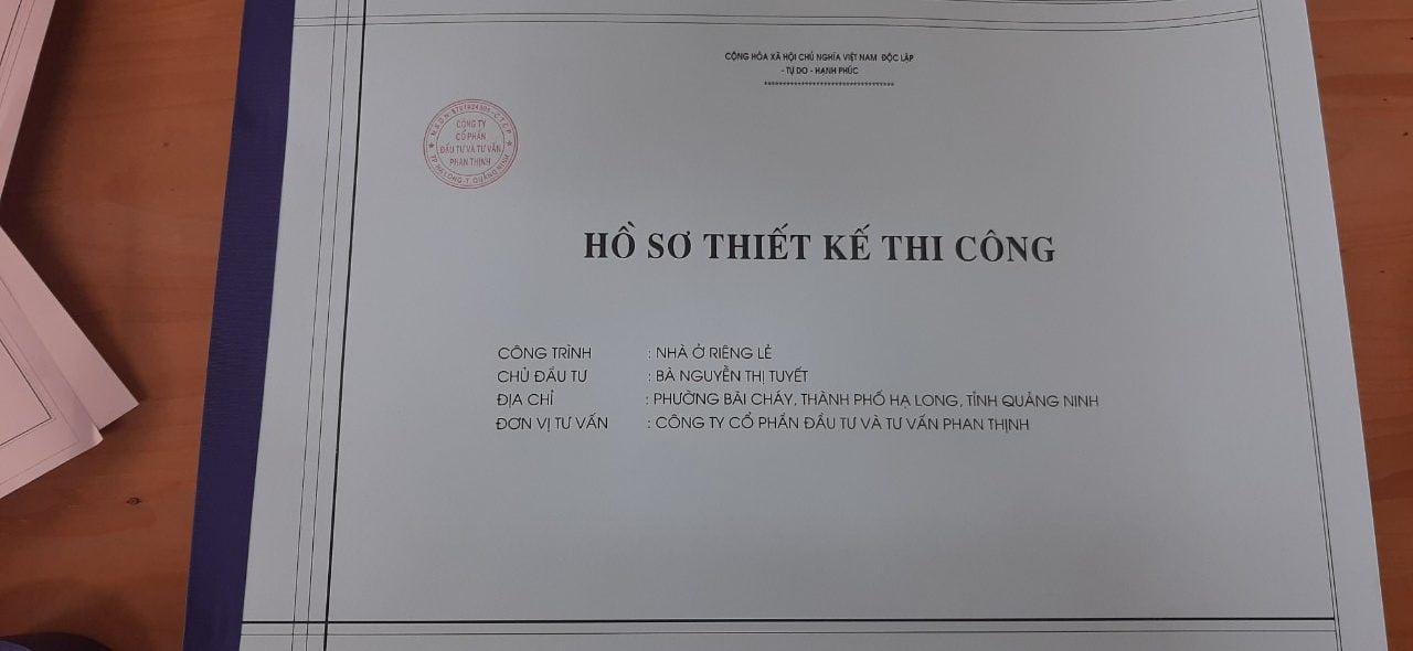 Ảnh bìa hồ sơ thiết kế bản vẽ thi công nhà cô Tuyết tại khu Cái Dăm phường Bãi Cháy chuẩn bị bàn giao