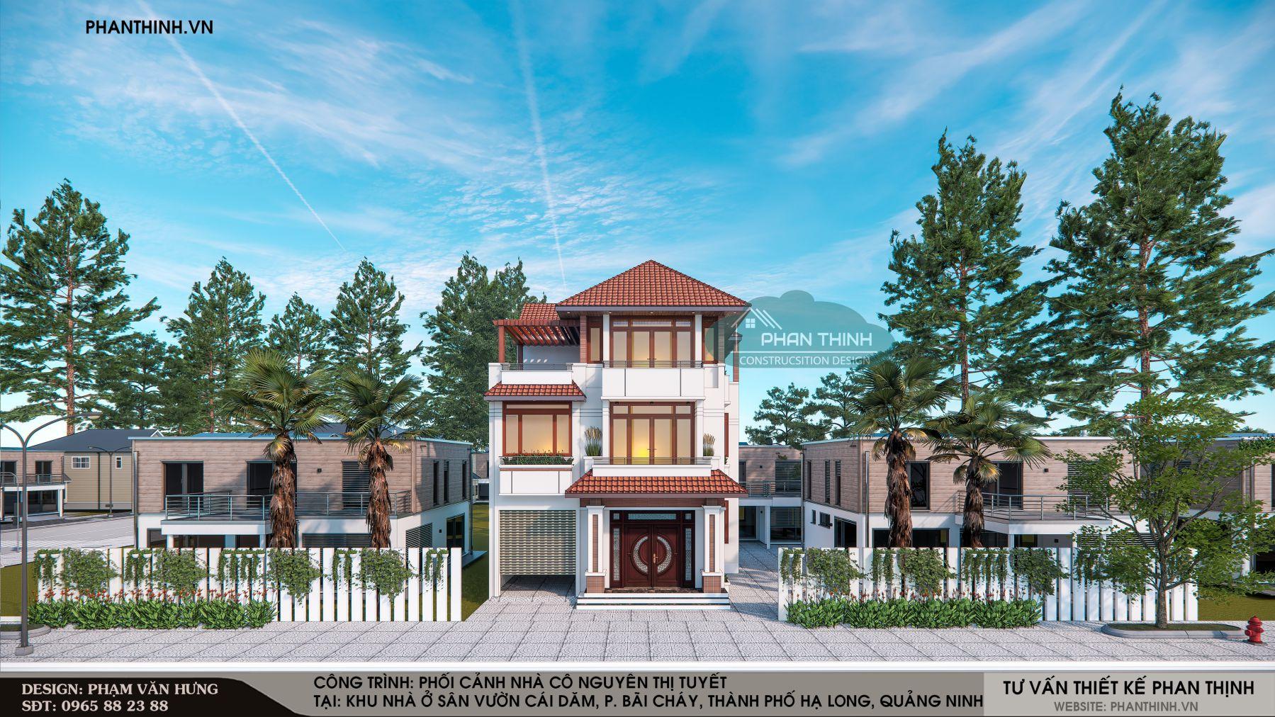 Mẫu nhà 3 tầng mái thái đẹp ở Quảng Ninh