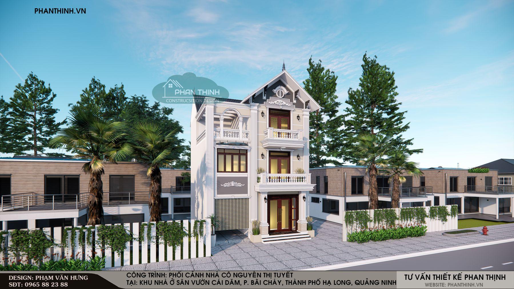 Mẫu mặt tiền nhà 3 tầng mái thái đẹp tại khu Cái Dăm, phường Bãi Cháy