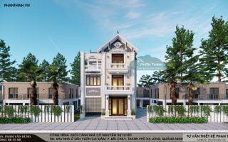 Thiết kế phối cảnh mặt bằng nhà mái thái 3 tầng mặt tiền 10m tại Cái Dăm