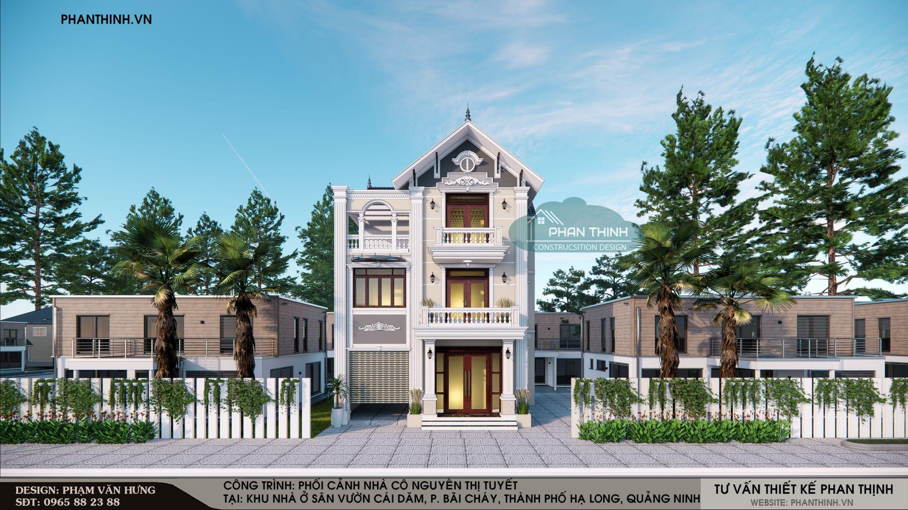 Hình ảnh thiết kế mặt tiền nhà biệt thự 3 tầng mái thái tân cổ ở Quảng Ninh