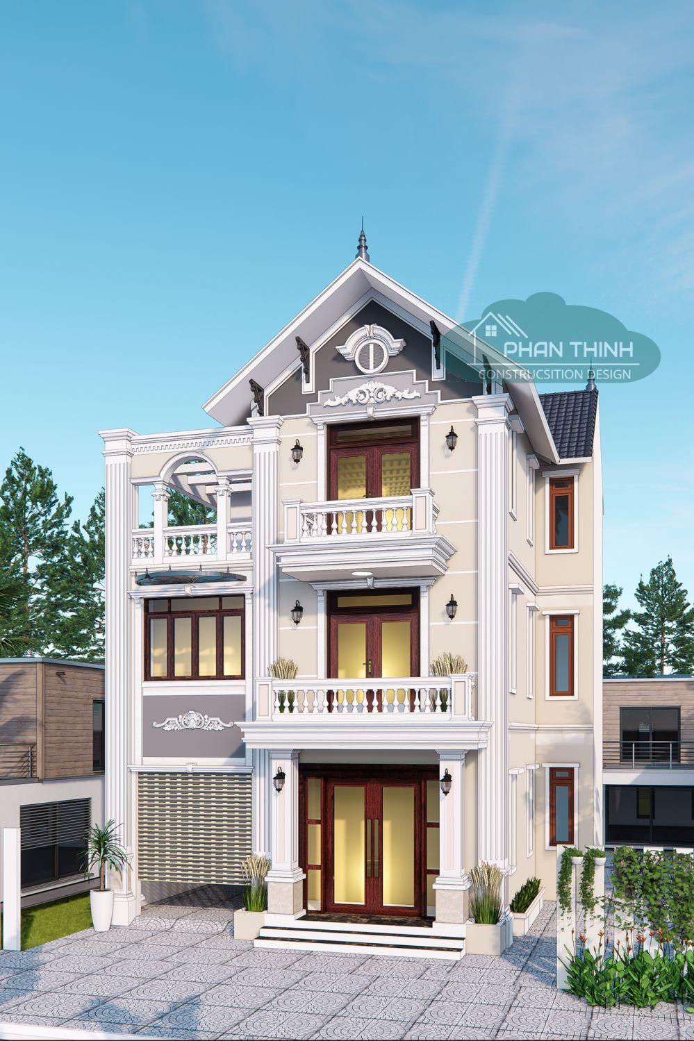 Mặt tiền nhà biệt thự 3 tầng mái thái đẹp mặt tiền 10m