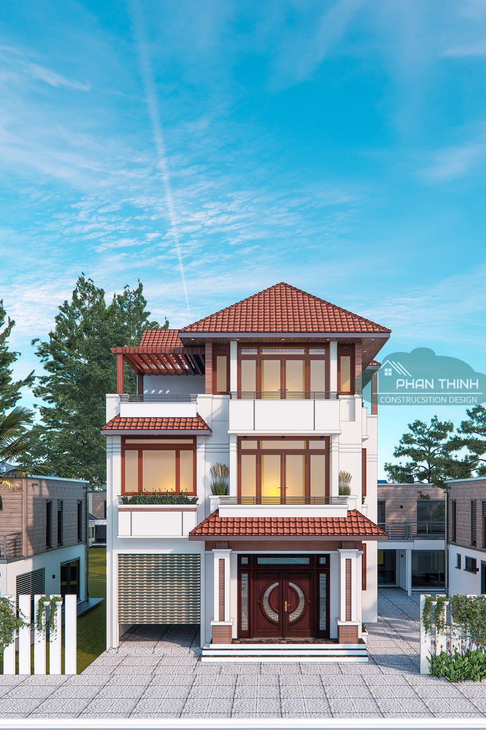 Phối cảnh mặt tiền nhà mái thái 3 tầng Quảng Ninh