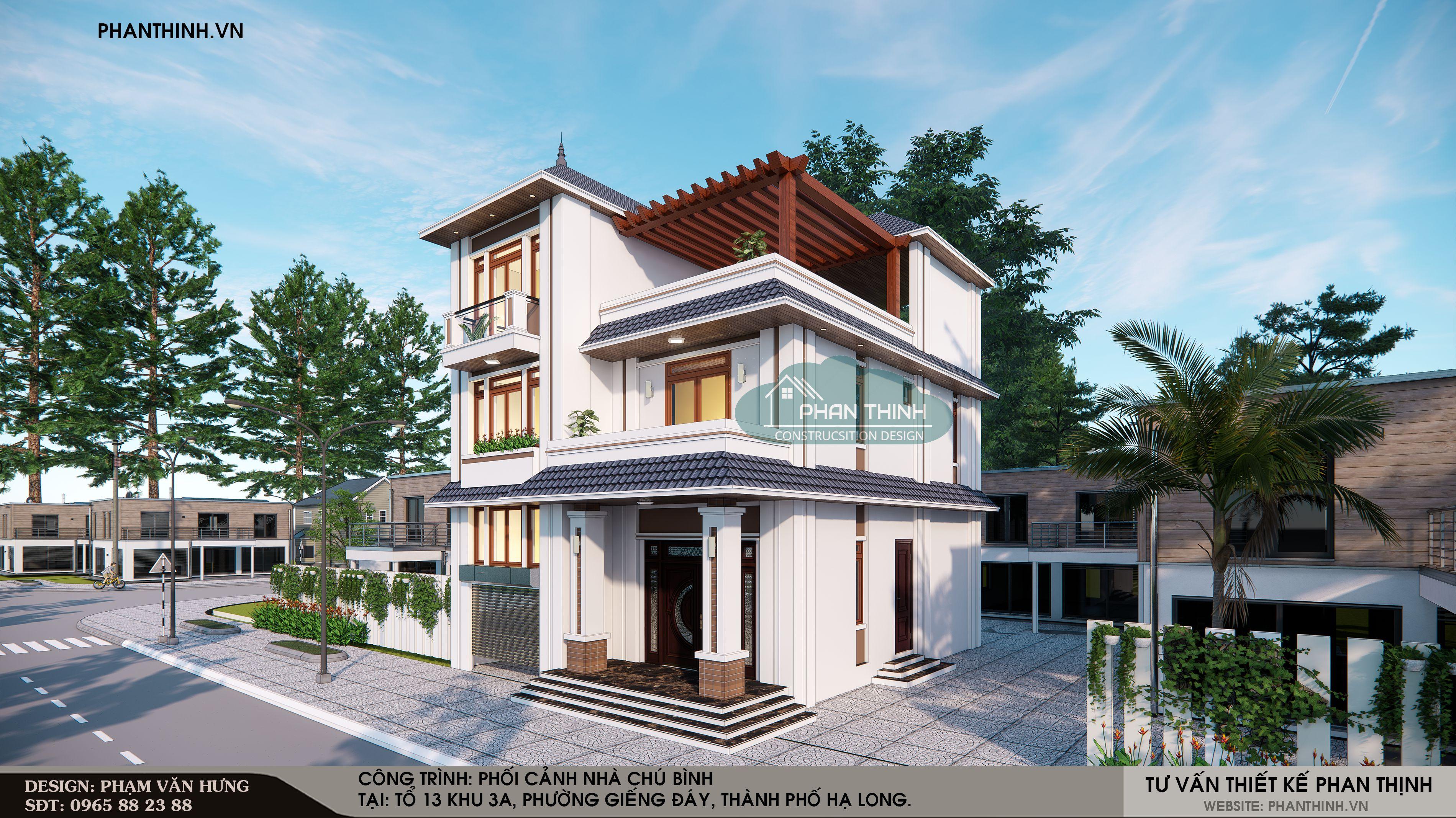 Mặt tiền nhà 3 tầng mái thái rộng 10 ở phường Giếng Đáy thành phố Hạ Long