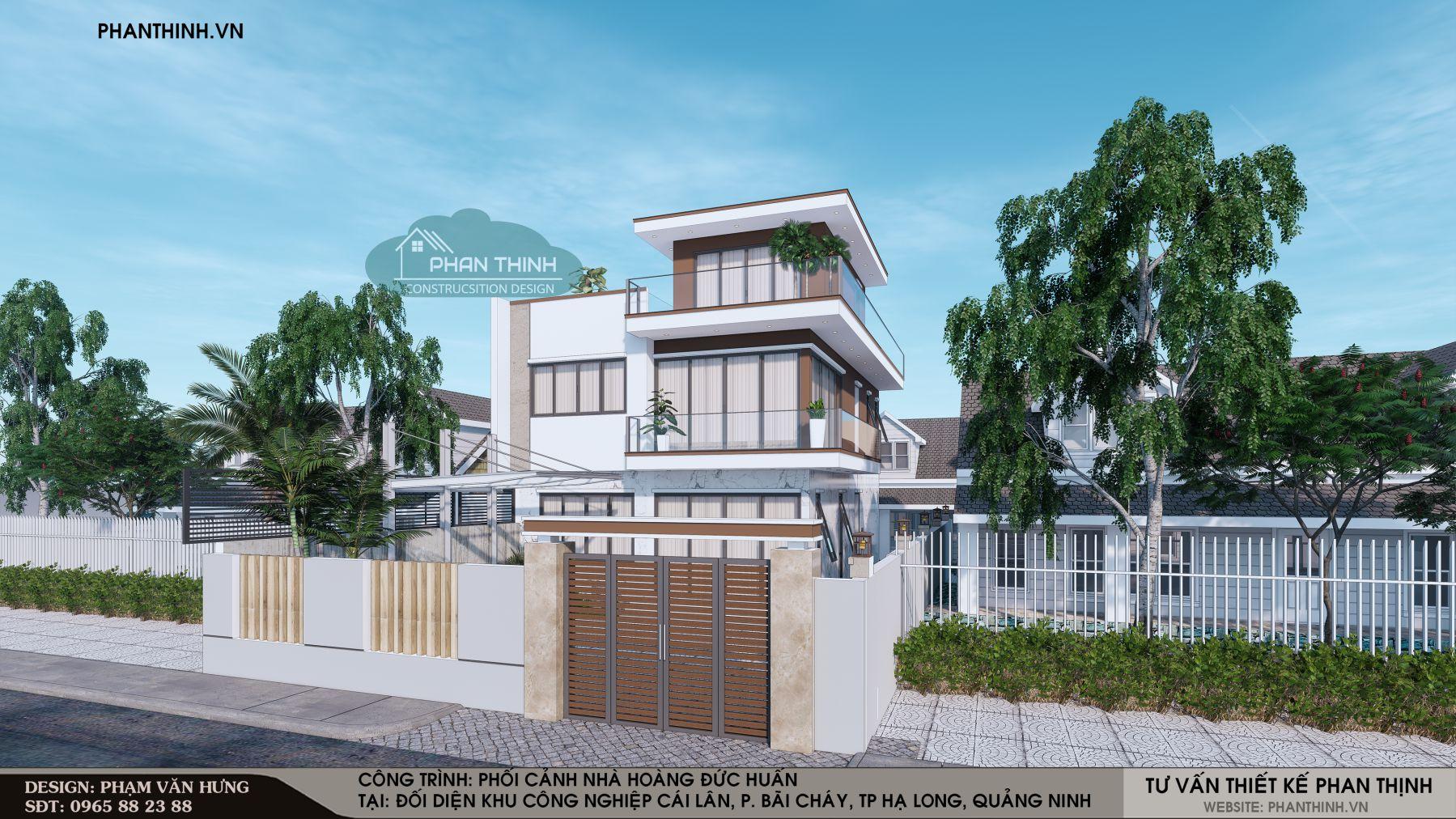 Mẫu mặt tiền căn biệt thự 3 tầng hiện đại rộng 9m tại Cái Lân Bãi Cháy, Quảng Ninh