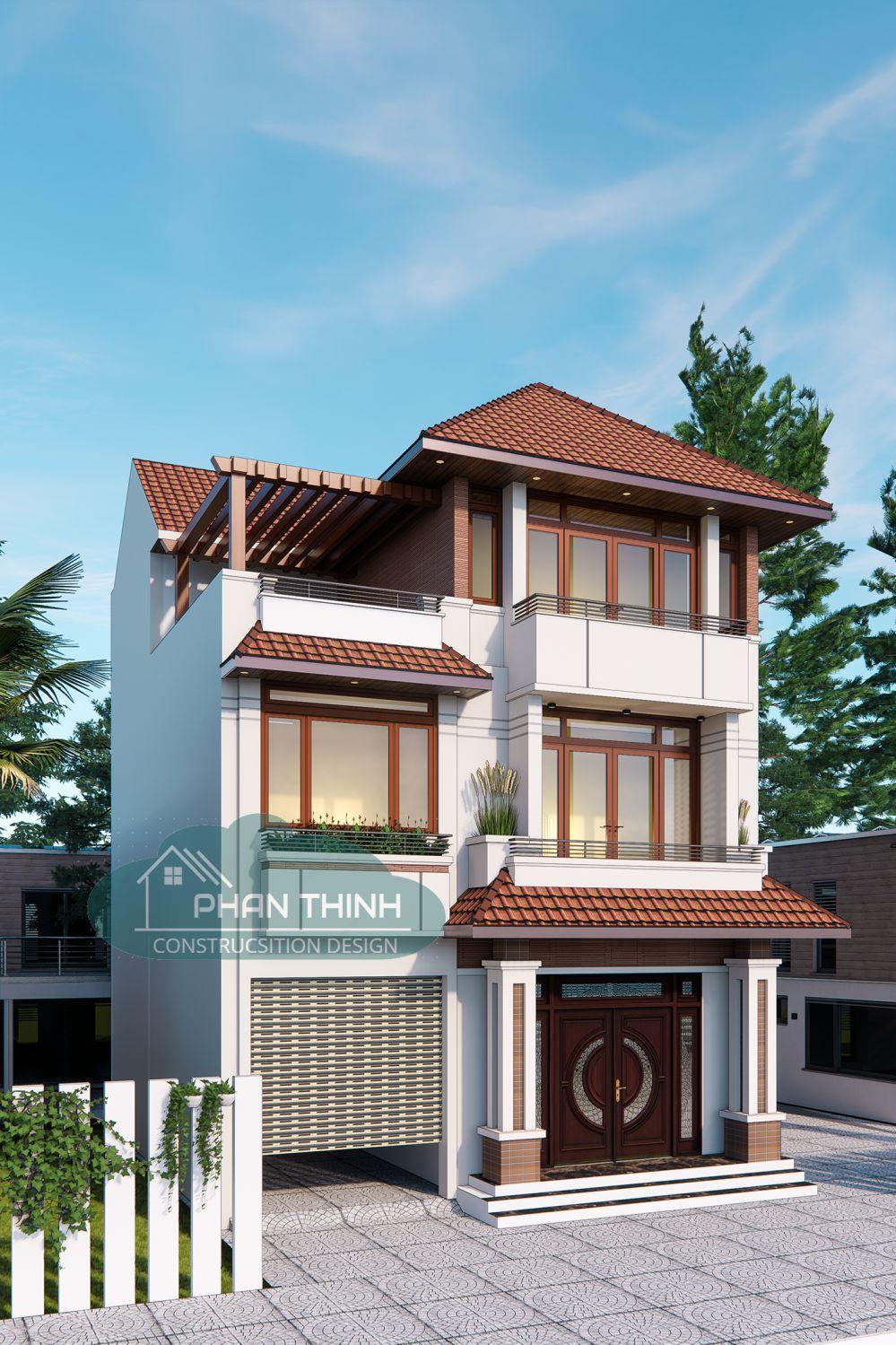 Hình ảnh thiết kế mặt tiền nhà mái thái 3 tầng