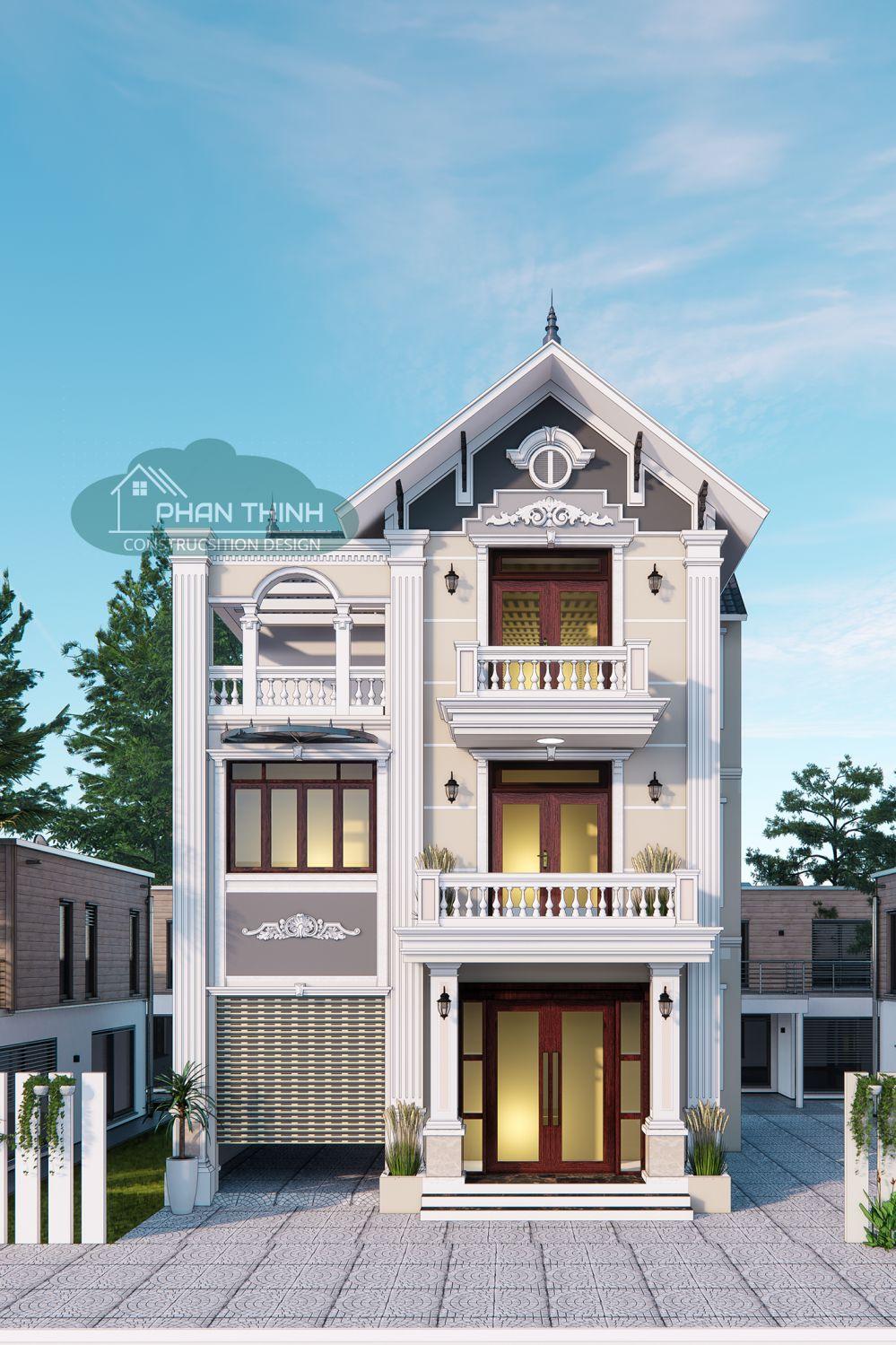 Mẫu phối cảnh thiết kế biệt thự 3 tầng mái thái tân cổ mặt tiền 10 ở Quảng Ninh