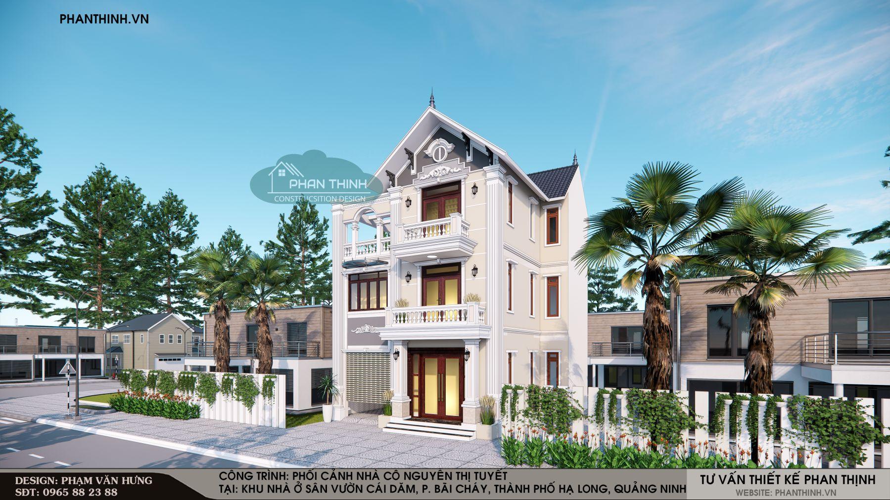 Hình ảnh mặt tiền nhà biệt thự 3 tầng mái thái mặt tiền 10m ở khu Cái Dăm thành phố Hạ Long
