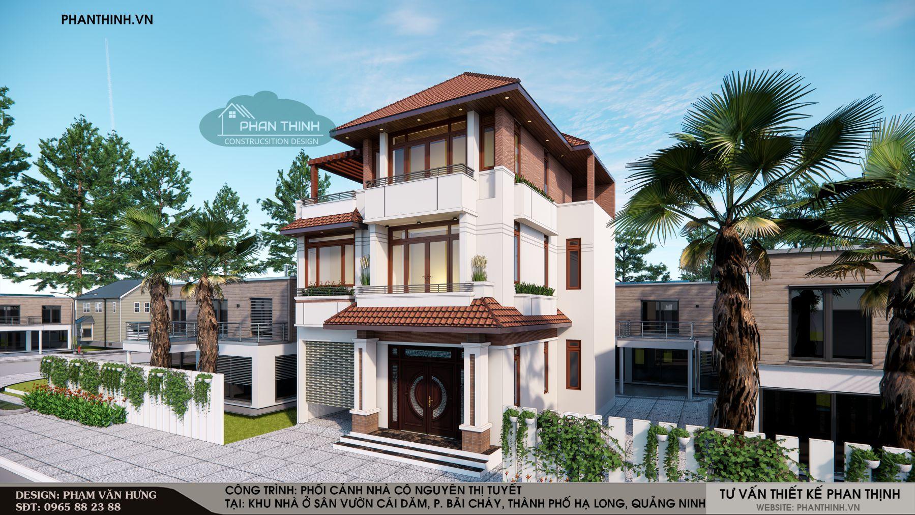 Mẫu thiết kế nhà mái thái 3 tầng hiện đại mặt tiền 10m