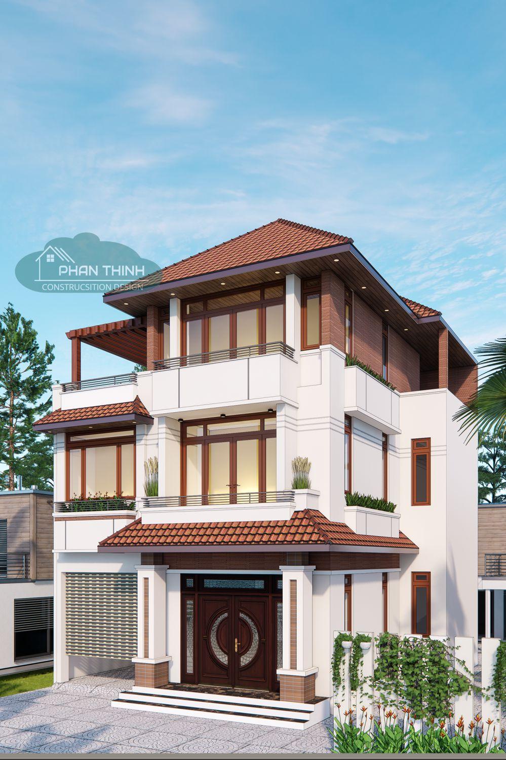Mẫu biệt thự 3 tầng mái thái đẹp tại Quảng Ninh