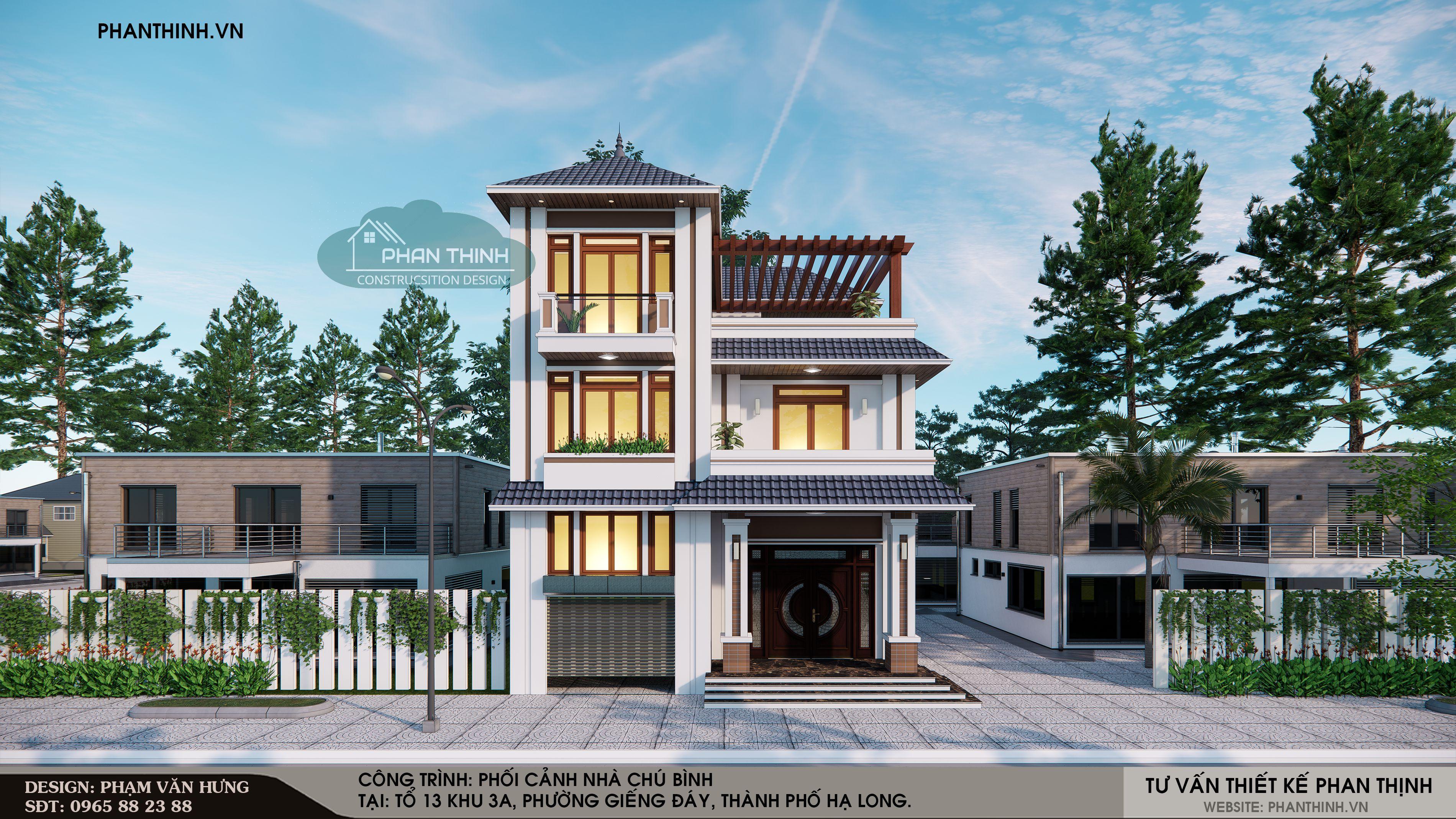 Phương án thiết kế mặt tiền căn nhà 3 tầng mái thái tại phường Giếng Đáy, Hạ Long