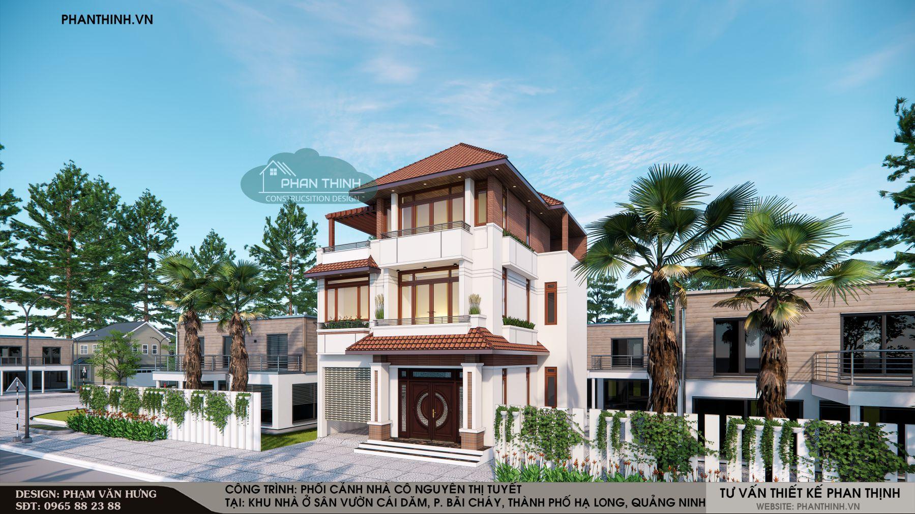Hình ảnh phối cảnh căn biệt thự 3 tầng mái thái phong cách hiện đại