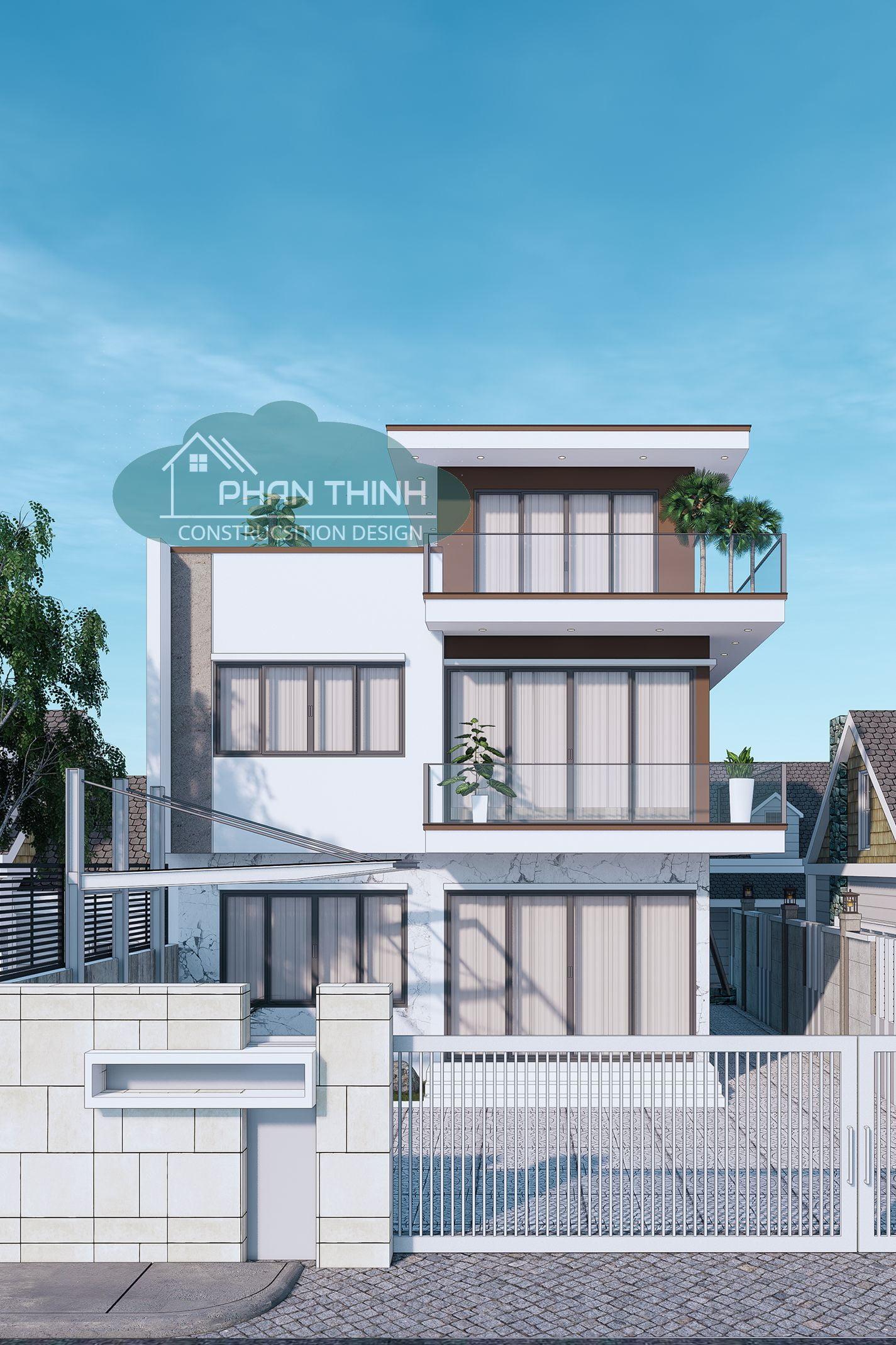 Mặt tiền biệt thự phong cách hiện đại 3 tầng rộng 9m tại Quảng Ninh